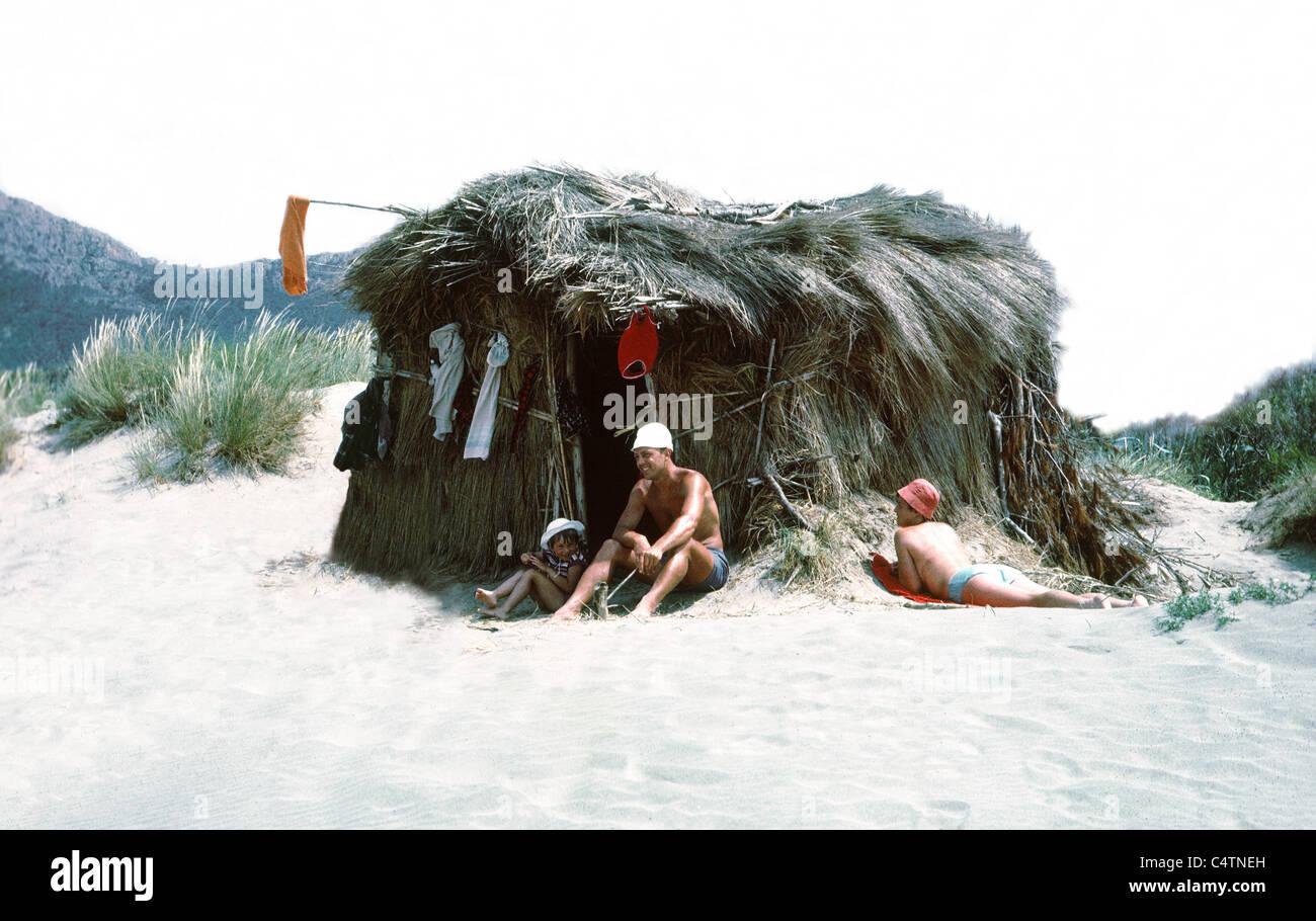 beachhut and family - Stock Image