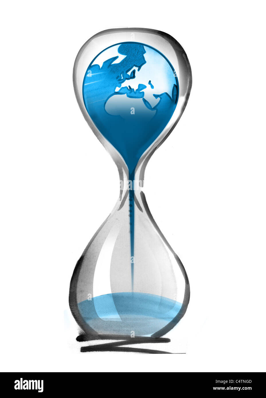 Planet earth falling through hourglass - Stock Image