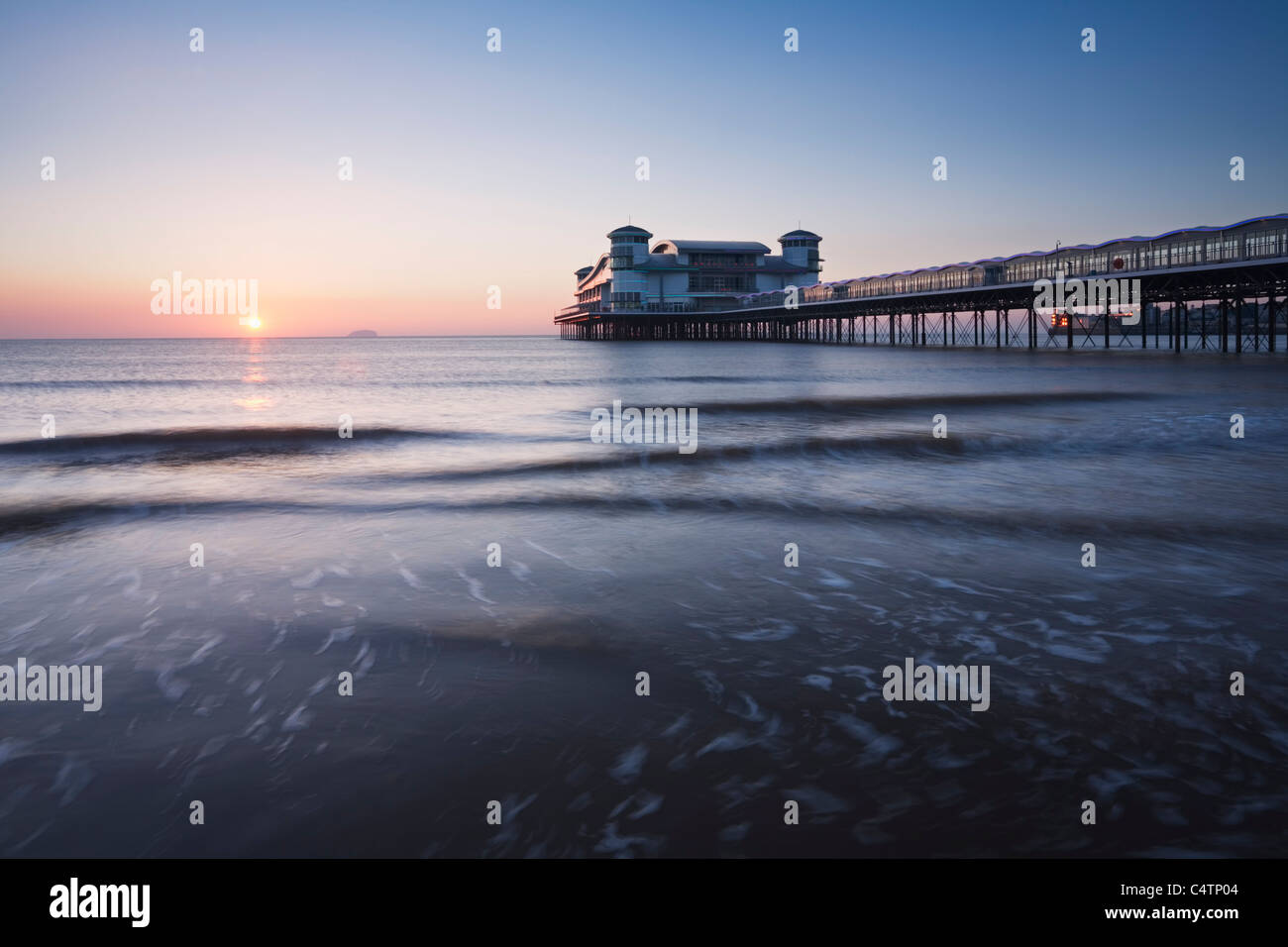The New Grand Pier at Weston-super-Mare, rebuilt and opened in 2010 after the fire of 2008. Somerset. England. UK. - Stock Image