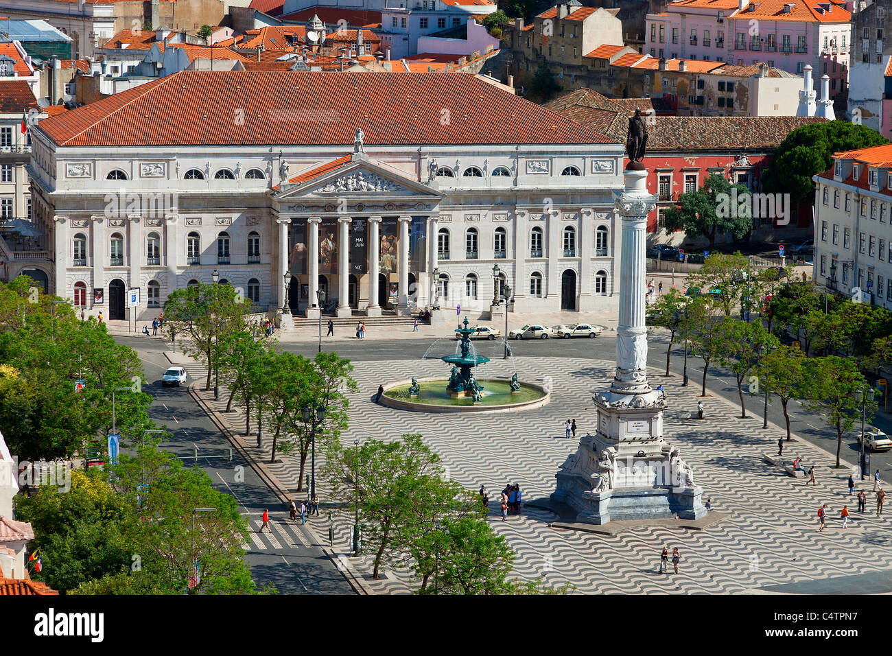 Europe, Portugal, Lisbon, Pedro IV Monument in Rossio Square and National Theatre - Stock Image