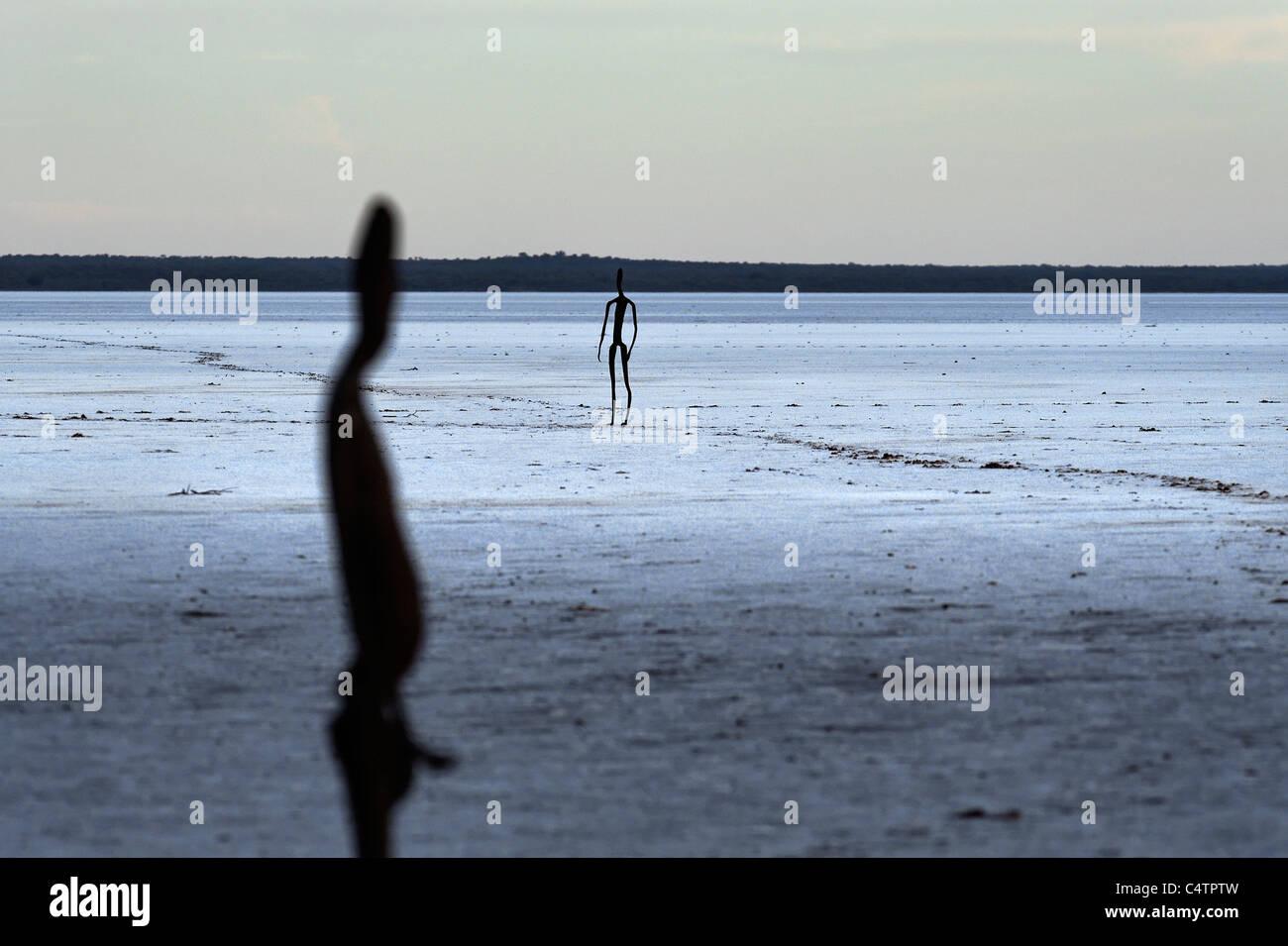 Art Sculptures ( Inside Australia ) on Lake Ballard by Antony Gormley, Western Australia - Stock Image