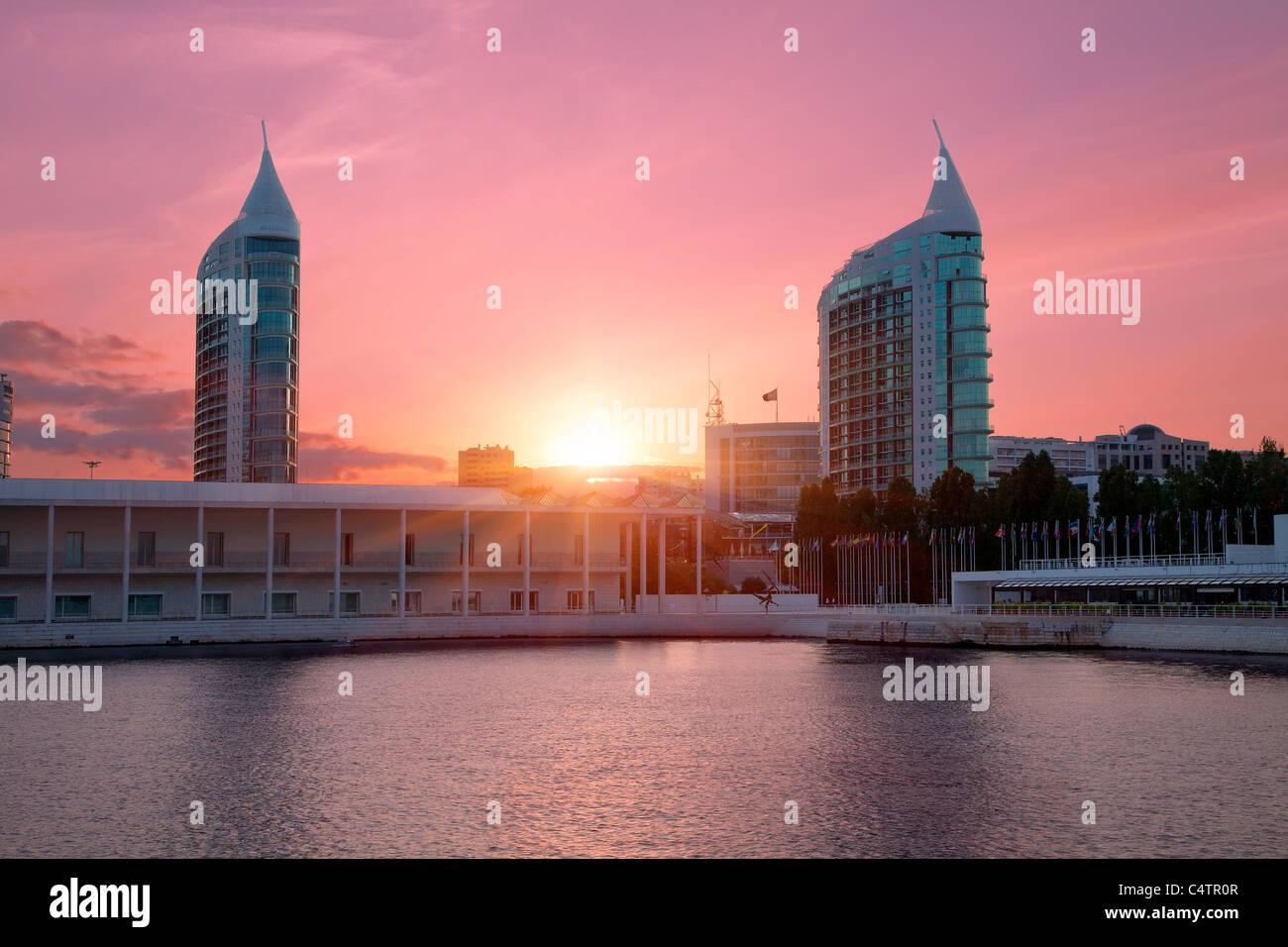 Europe, Portugal, Lisbon, Sao Gabriel and Sao Rafael Twin Towers at Sunset Stock Photo