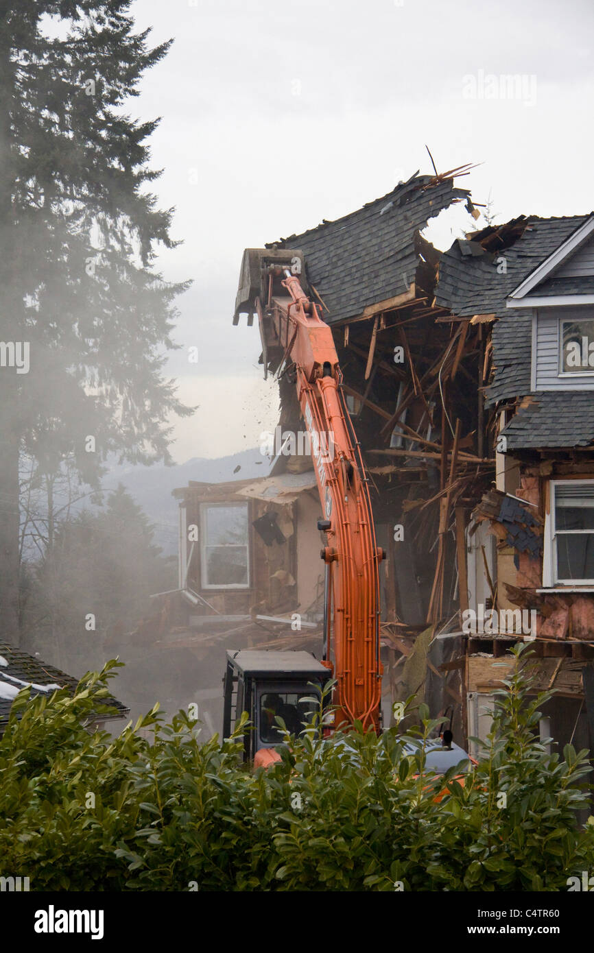 98 year old heritage home being demolished to make way for a newer building - Stock Image