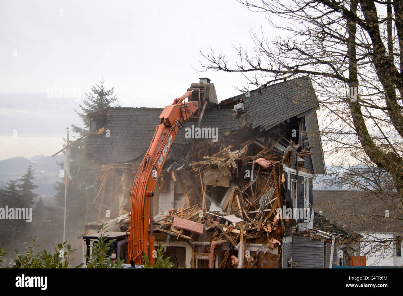 98 year old heritage house being demolished to make way for a newer building - Stock Image