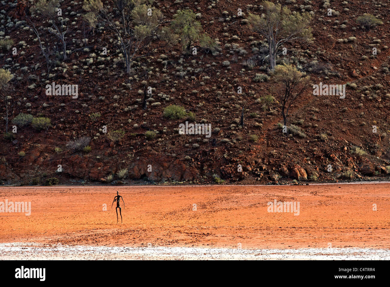 Art Sculptures ( Inside Australia Exhibition ) on Lake Ballard by Antony Gormley, Western Australia - Stock Image
