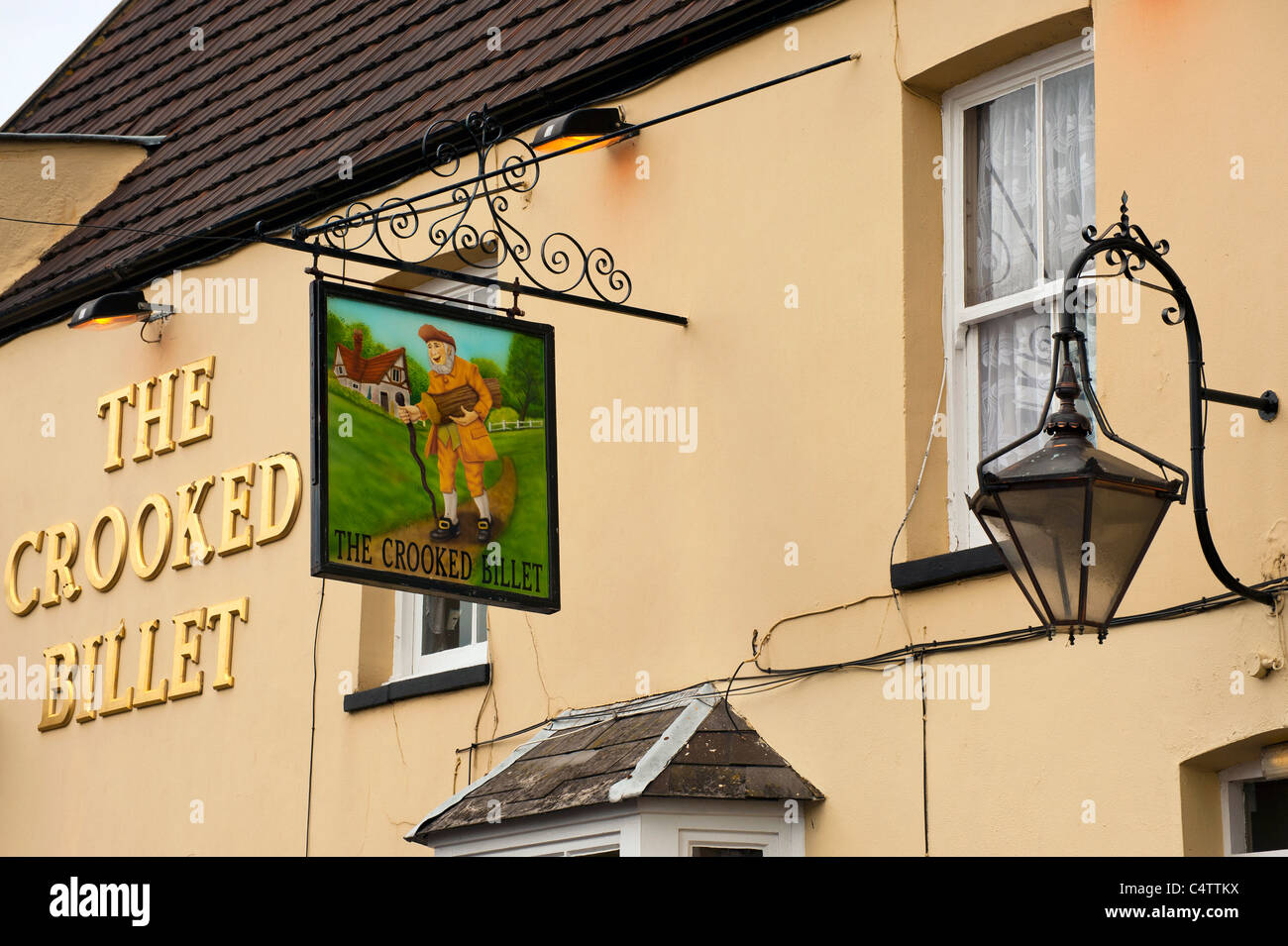 Sign for the Crooked Billet Pub in Old Leigh, Essex - Stock Image