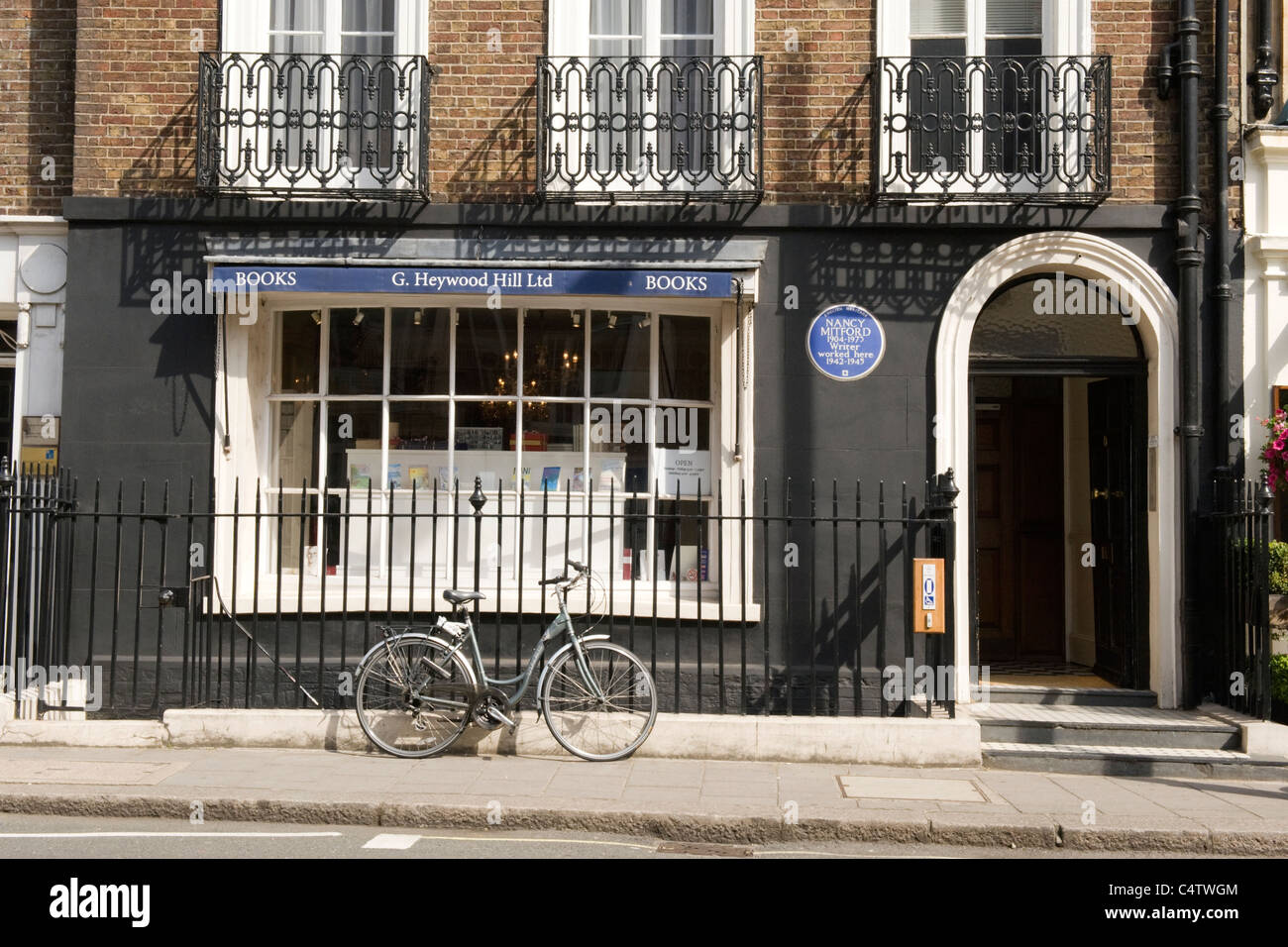 London Mayfair G Heywood Hill traditional book shop or store where writer author authoress Nancy Mitford worked - Stock Image
