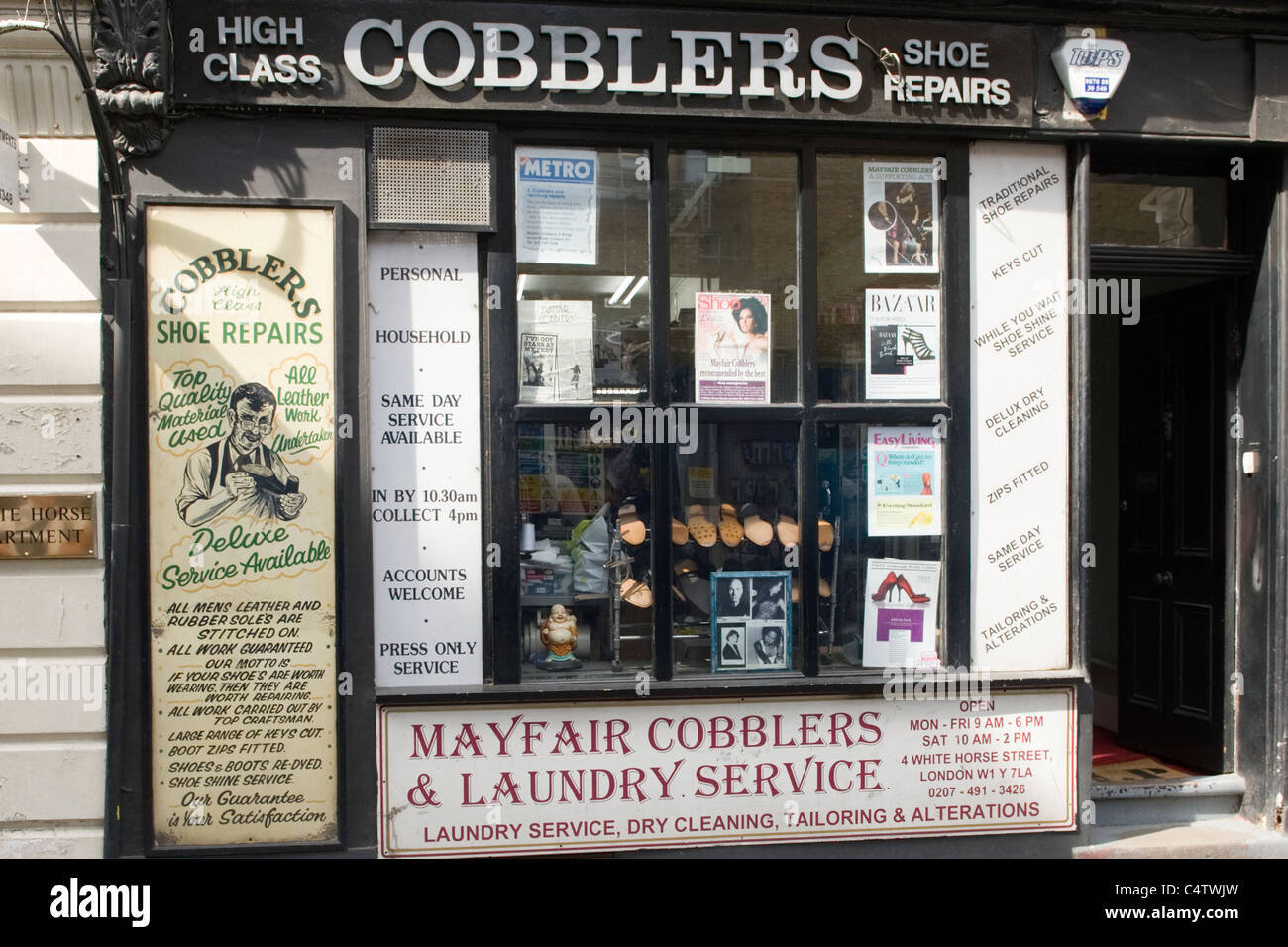 London White Horse Street old fashioned Mayfair Cobblers & Laundry Service traditional high class deluxe shoe - Stock Image