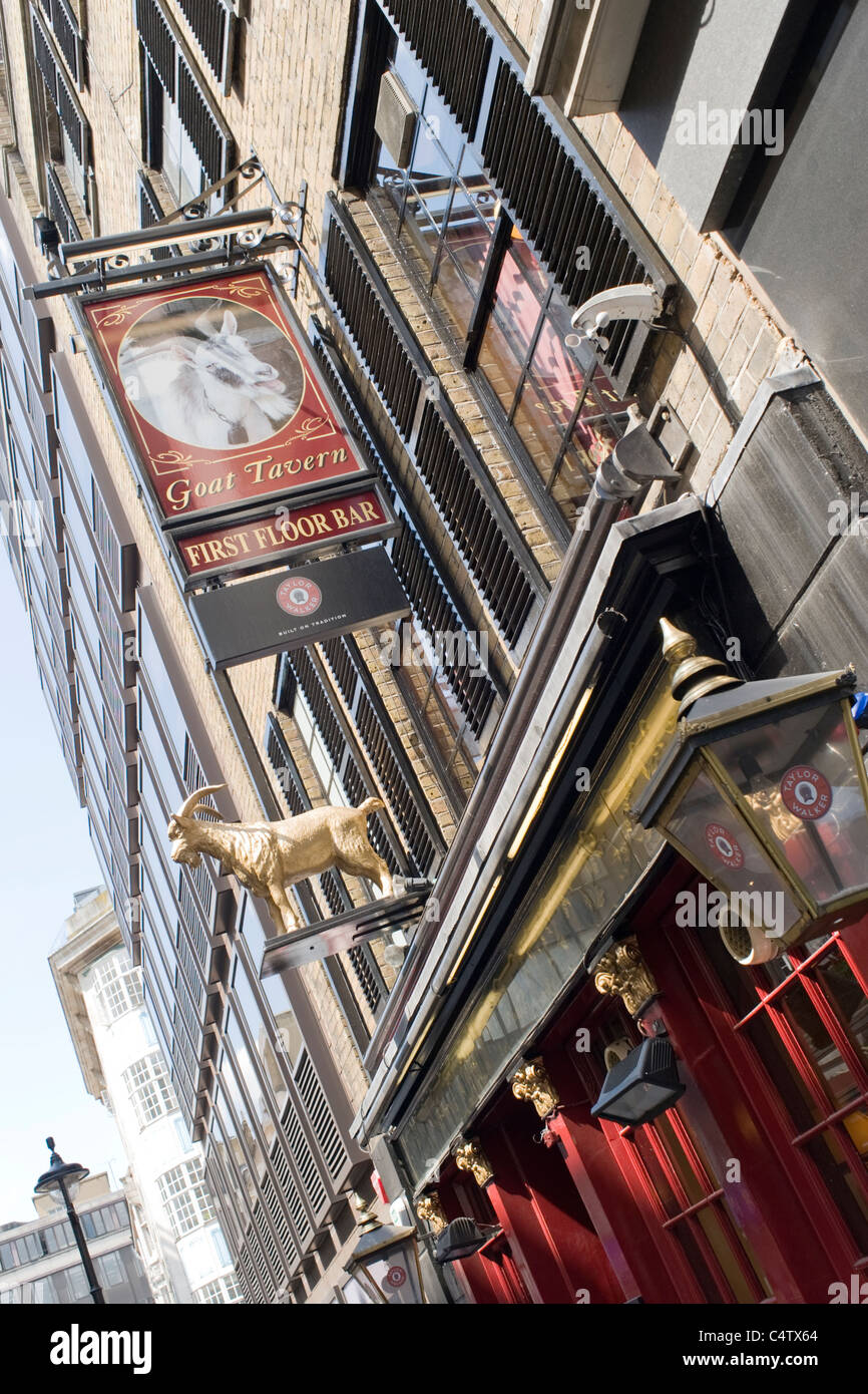 London Mayfair Stafford Street the Goat Tavern typical English pub with restaurant & comedy club upstairs was Great Stock Photo