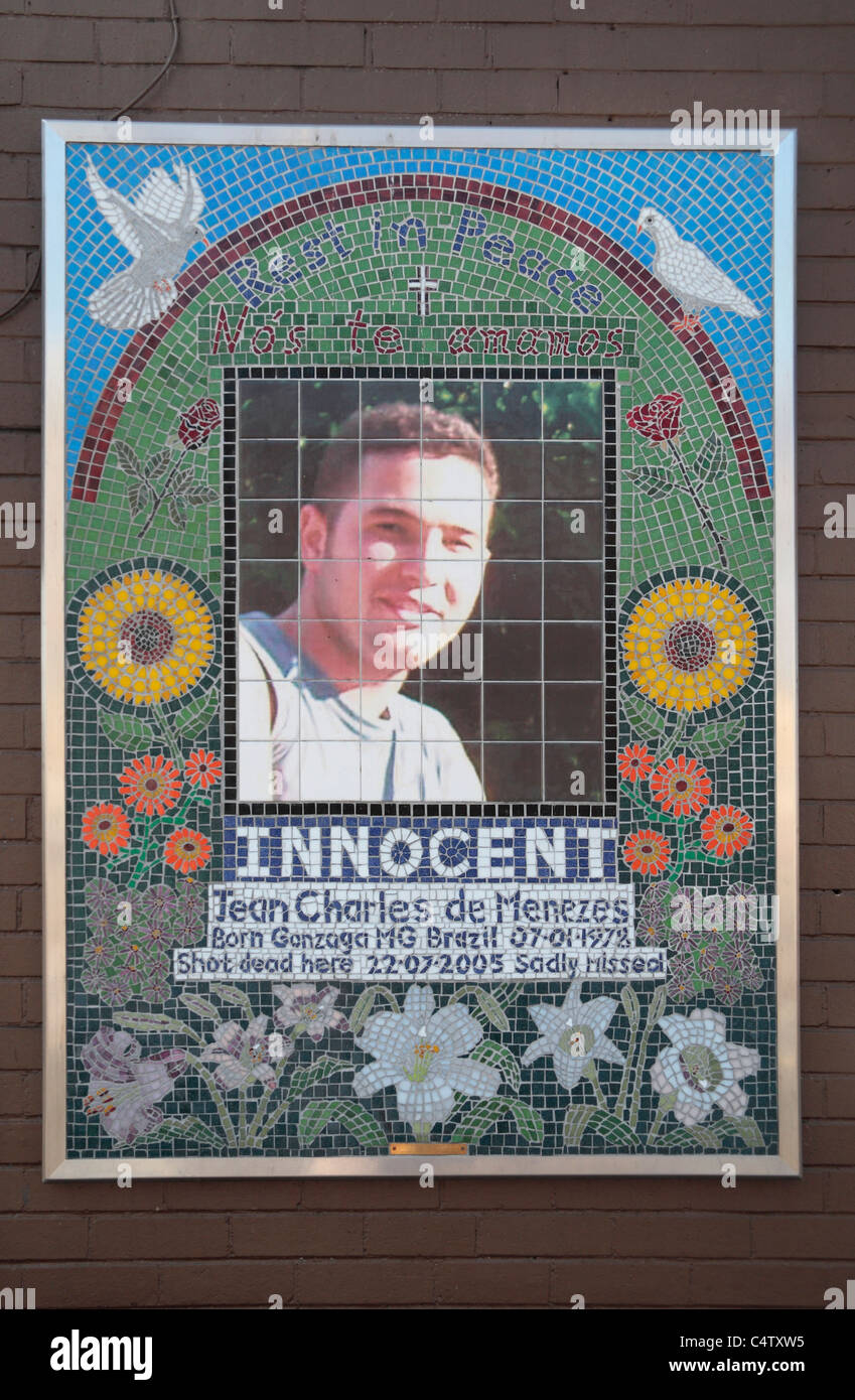 Memorial to Jean Charles de Menezes outside.Stockwell tube station, where he was shot by Met Police in July 2005. - Stock Image