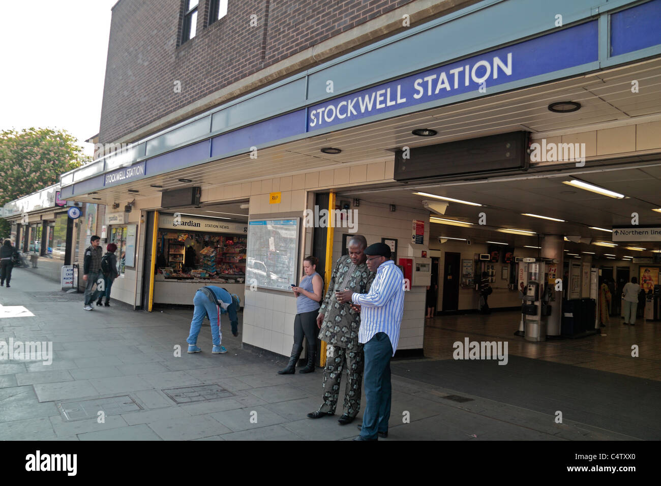 Entrance to Stockwell tube station, site of the July 2005 Police shooting of Charles de Menezes  in south London, - Stock Image