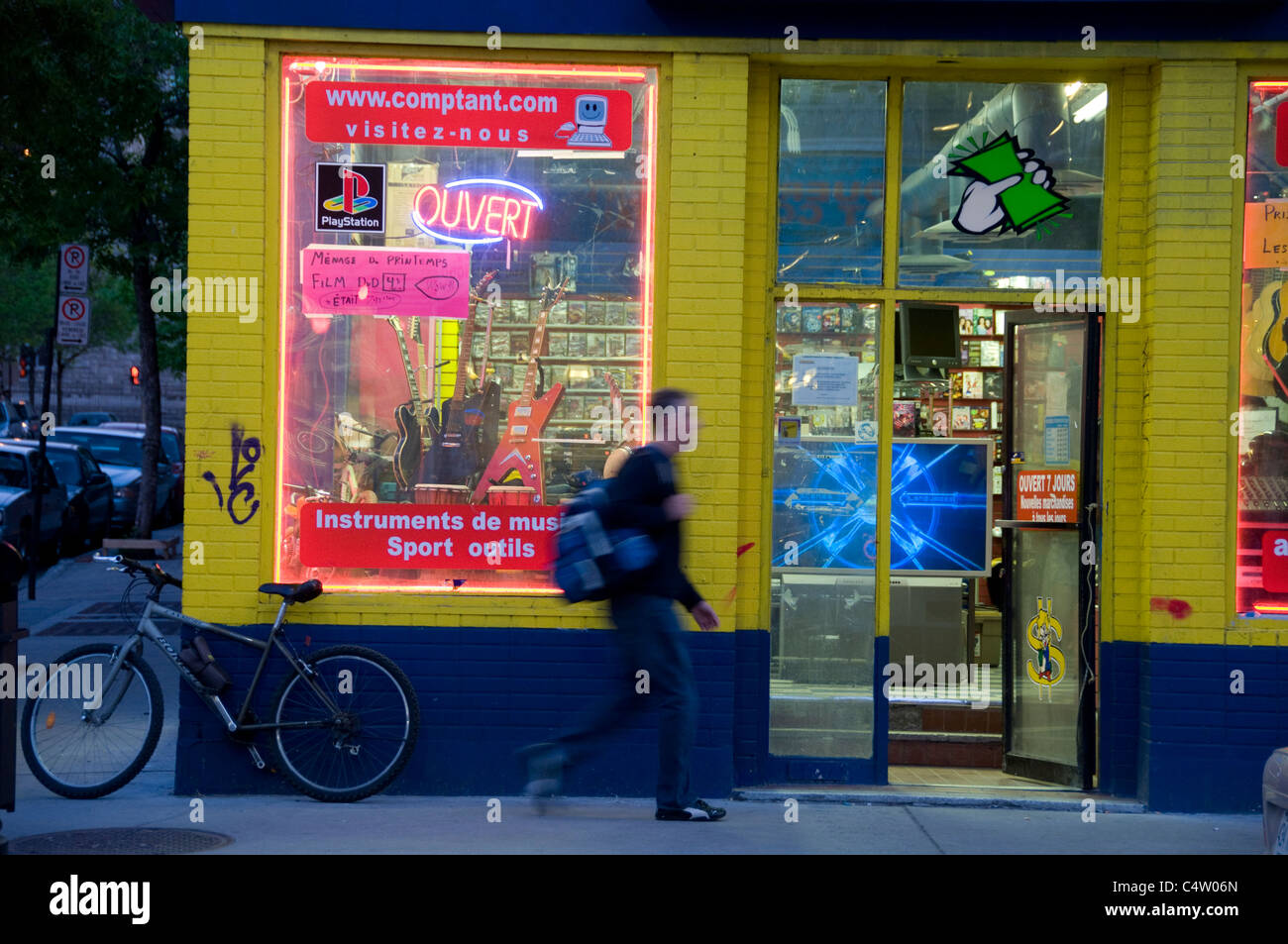 Saint  Laurent street evening Montreal Canada, Quebec, - Stock Image