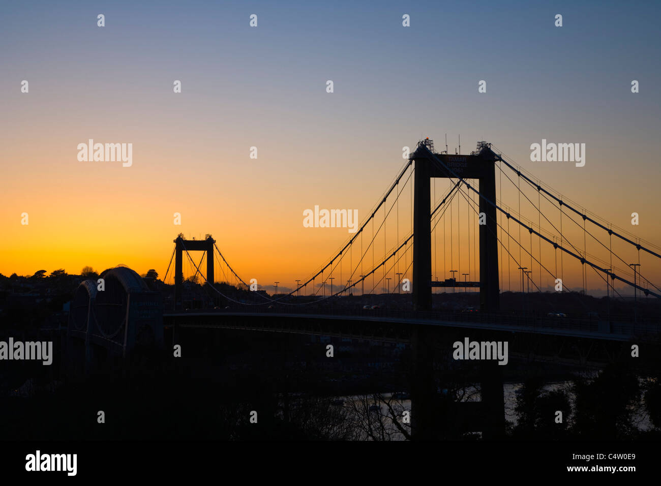 Tamar Bridge, sunset, Plymouth, between Cornwall and Devon, England, UK - Stock Image