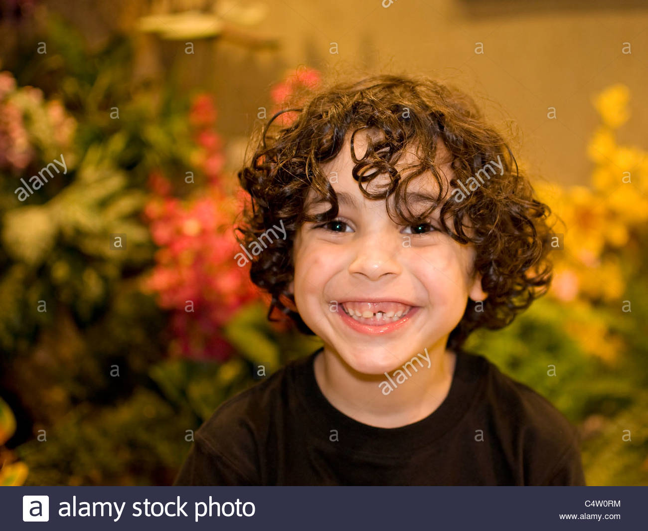 Hispanic Boy With Curly Hair Smiling Cute Face Latin Boy S Stock