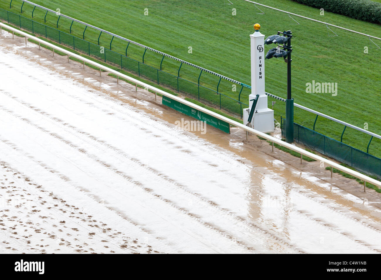 Finish line at Churchill Downs - Stock Image