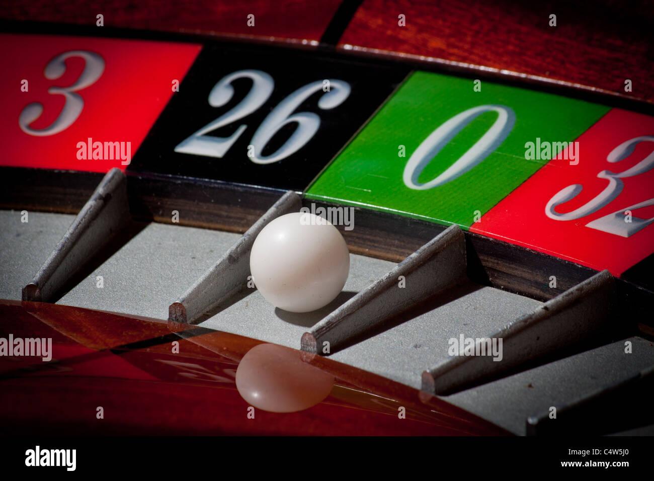 European casino roulette wheel zero loser 0 - Stock Image