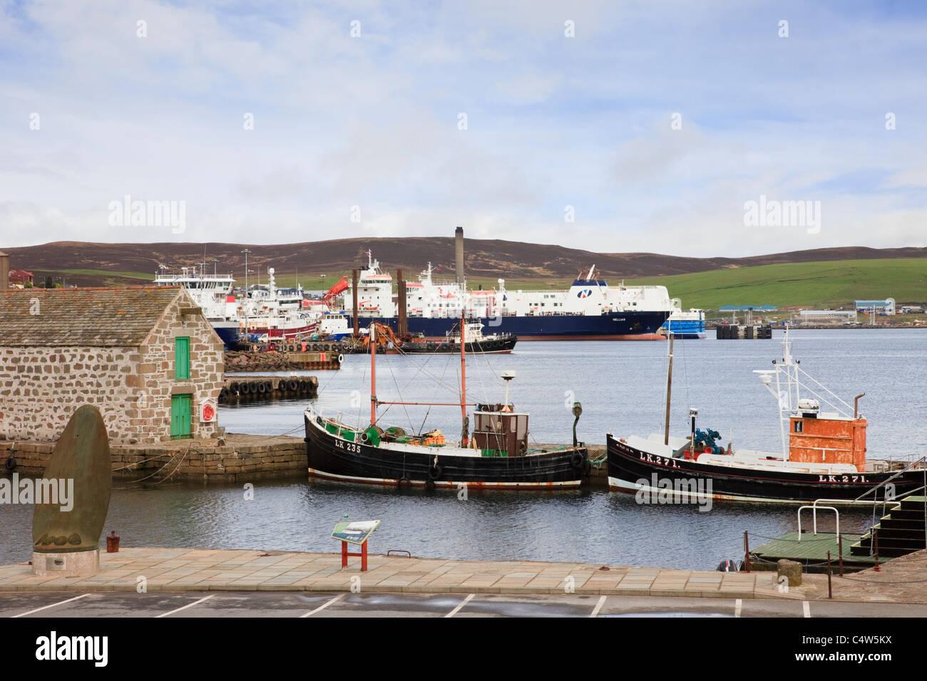 Lerwick, Shetland Islands, Scotland, UK, Europe. Hay's Dock with old boats moored - Stock Image