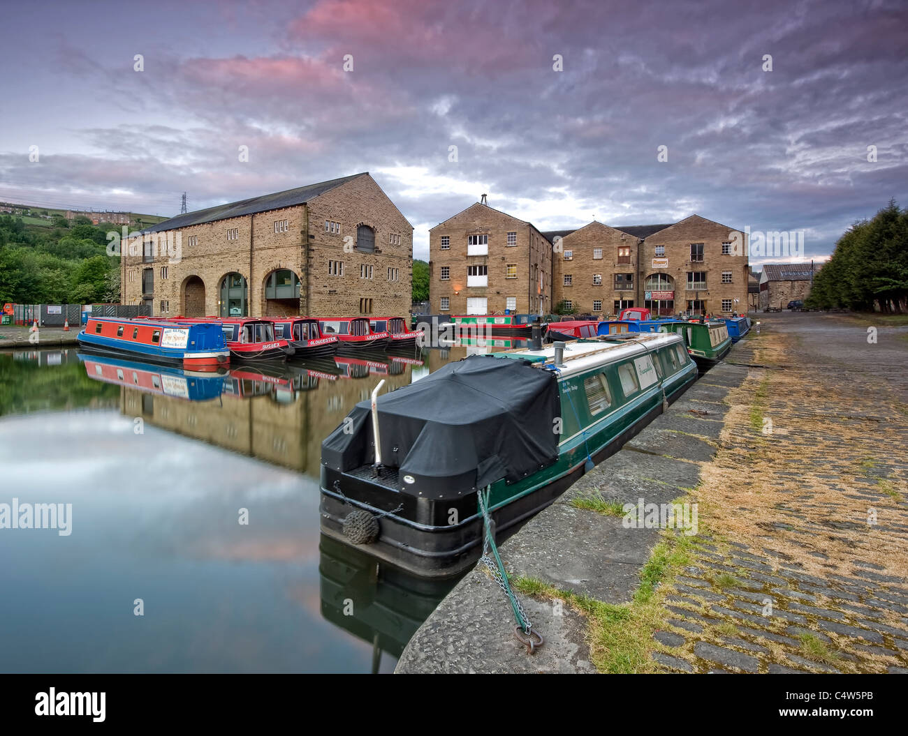 narrowboats at sowerby bridge moorings - Stock Image