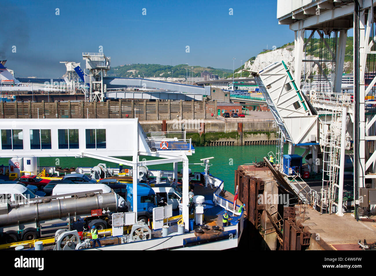 Cross channel car ferry docking at the port of Dover - Stock Image