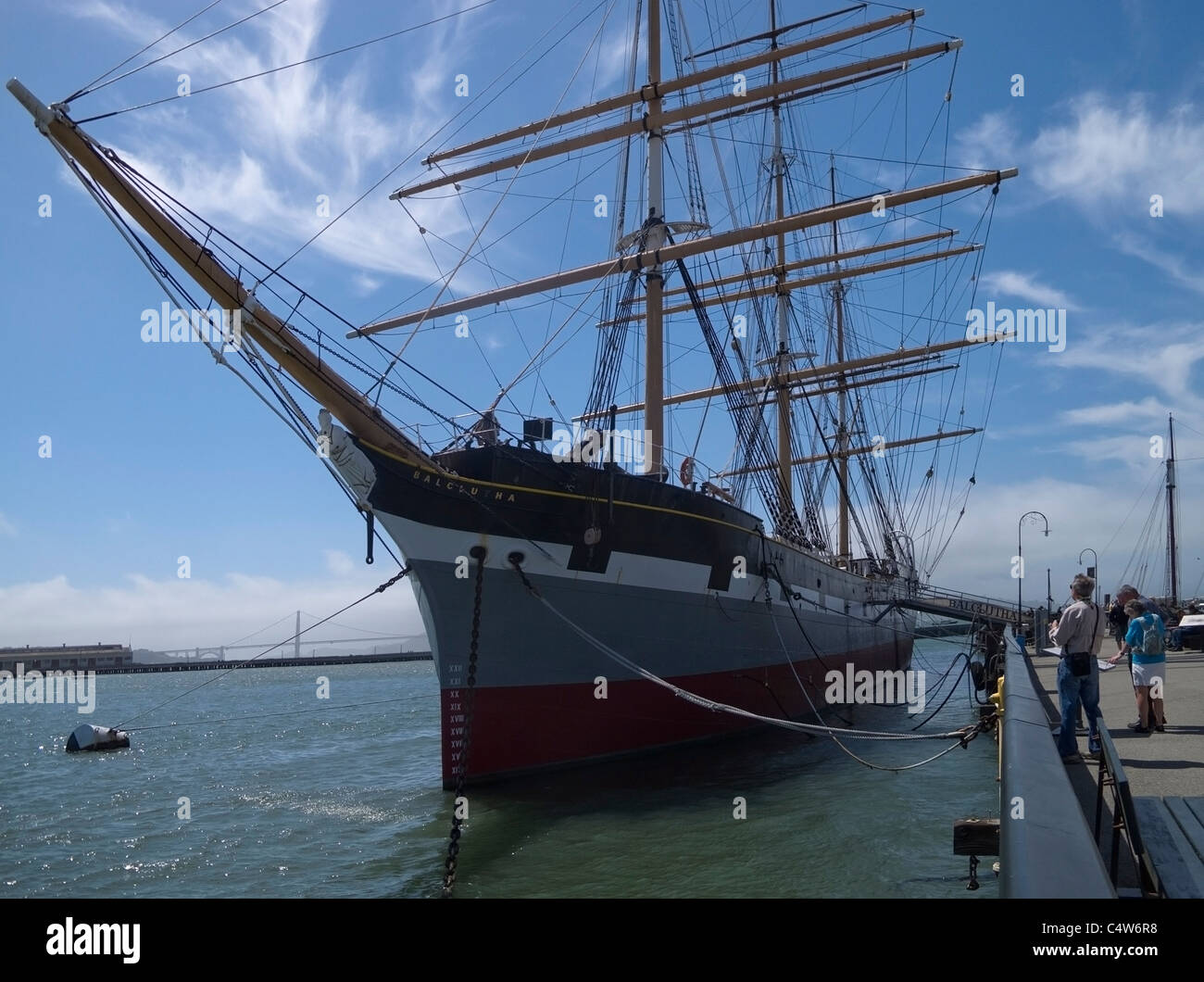 Steel Hulled Square Rigged Sailing Ship Balclutha at Hyde Pier San Francisco - Stock Image