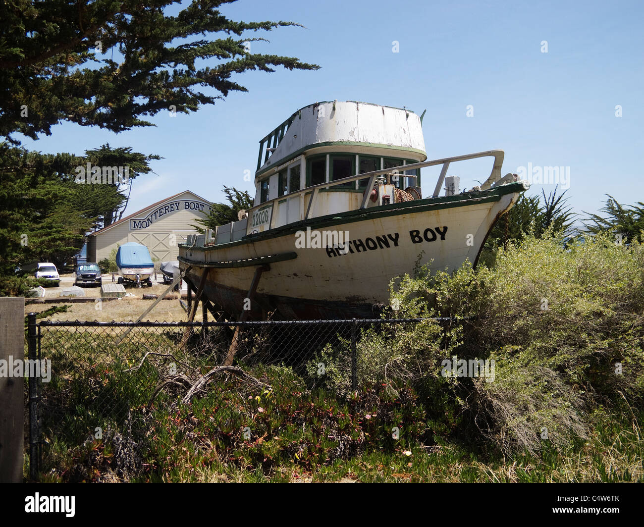 Derelict Boat at Monterey Boat Yard, USA - Stock Image