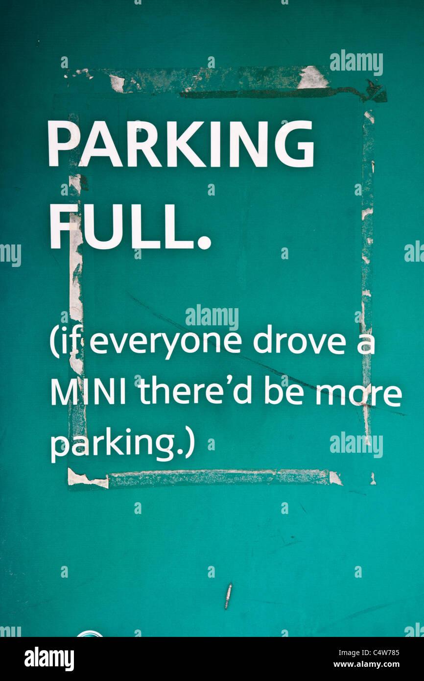 An amusing Parking Full notice outside the Madinat Jumeirah in Dubai, UAE - Stock Image