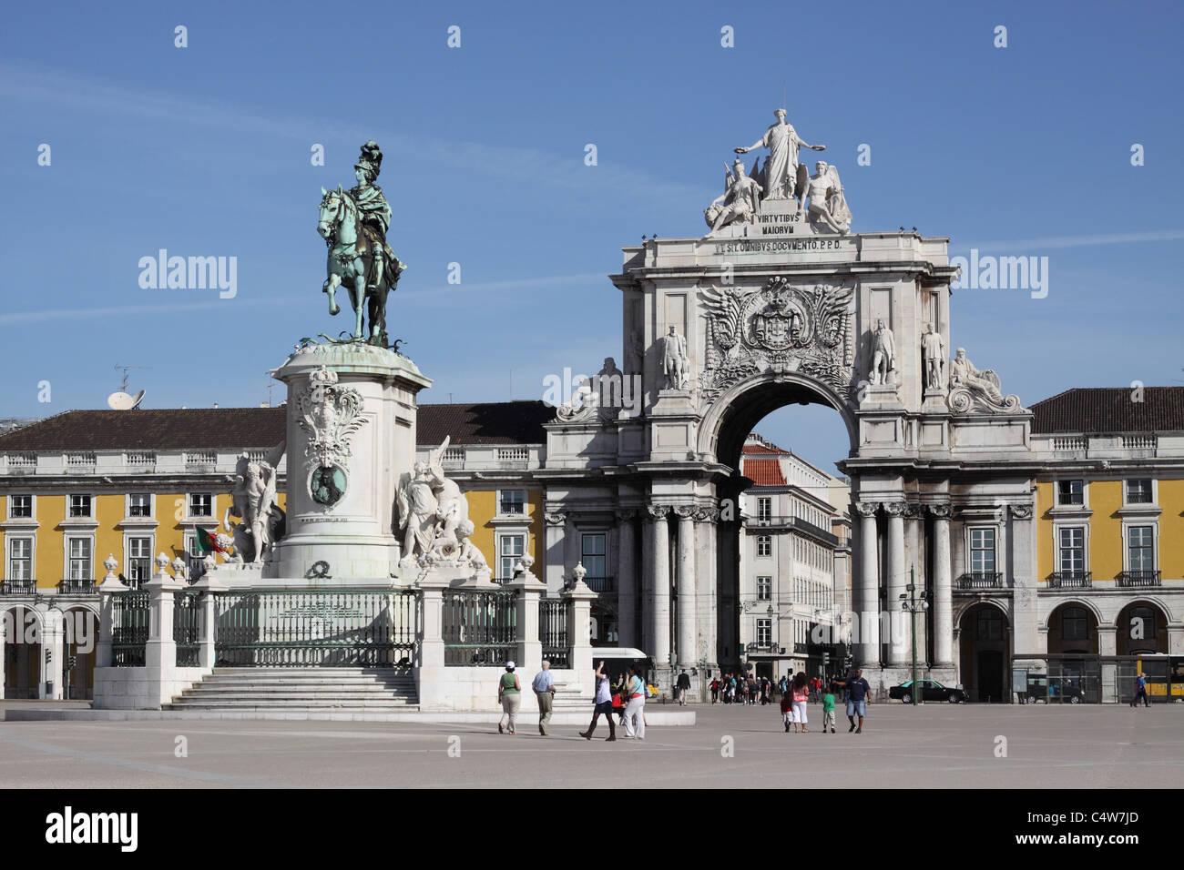 Lisbon Portugal Prace do Comercio and Triumphal Arch Lisboa - Stock Image