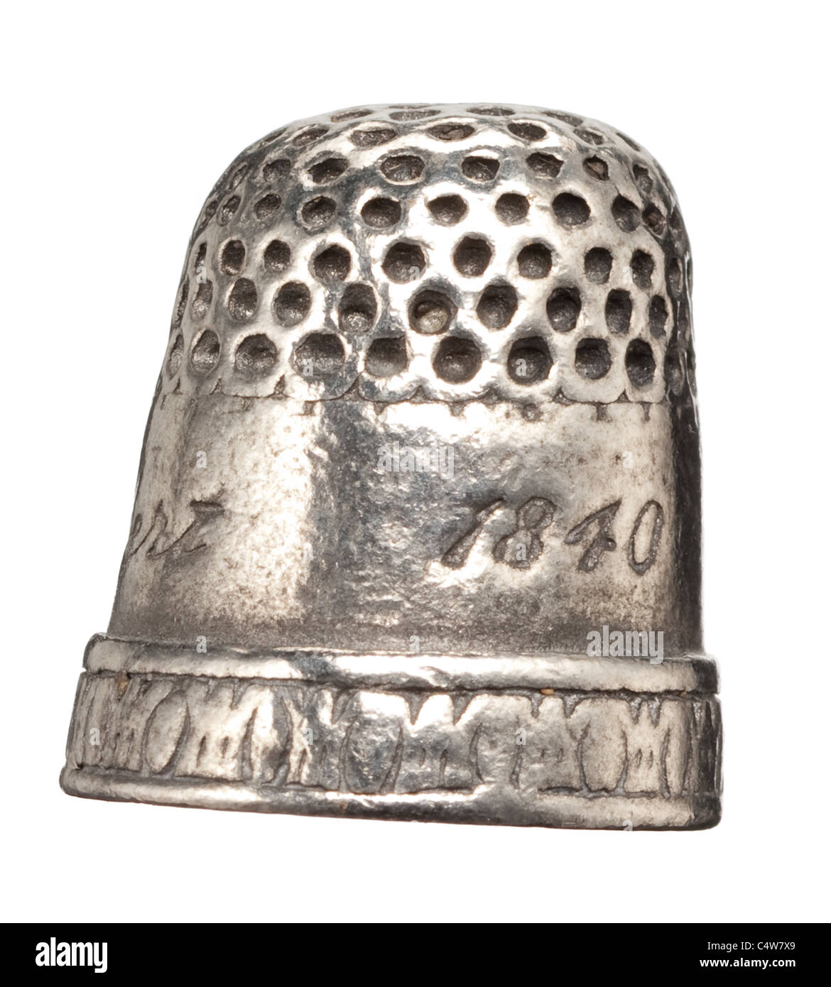 Antique silver thimble - Stock Image
