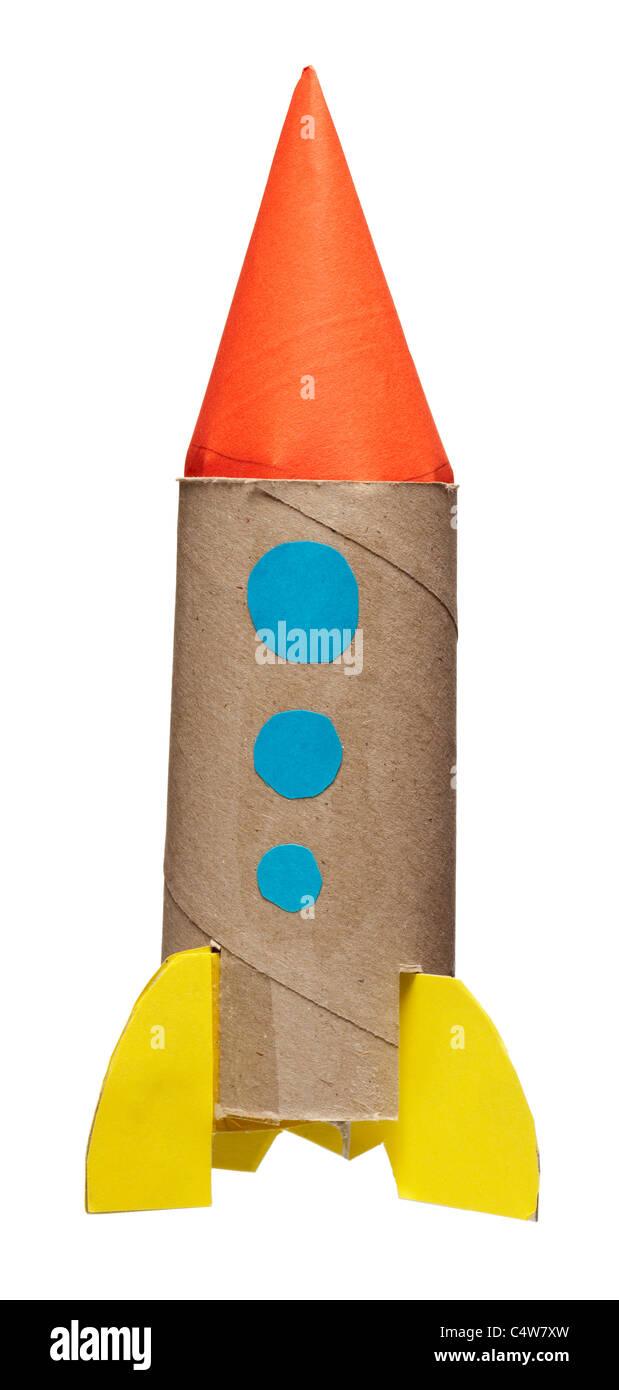 Homemade child's rocket, studio shot - Stock Image