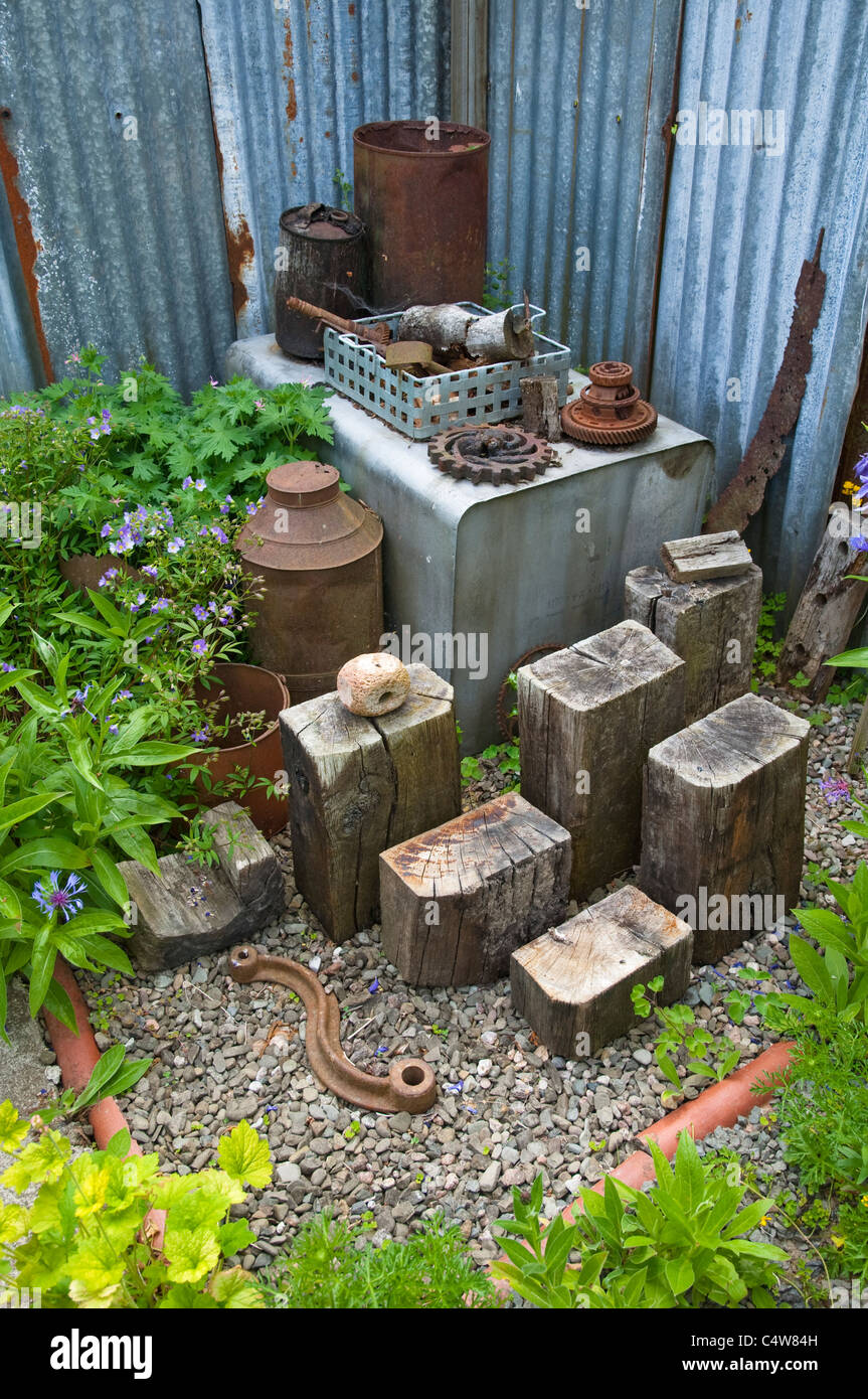 Garden Sculpture From Recycled Materials   Weathered Wood And Rusty Metal  Objects At Bryans Ground, Herefordshire, UK.