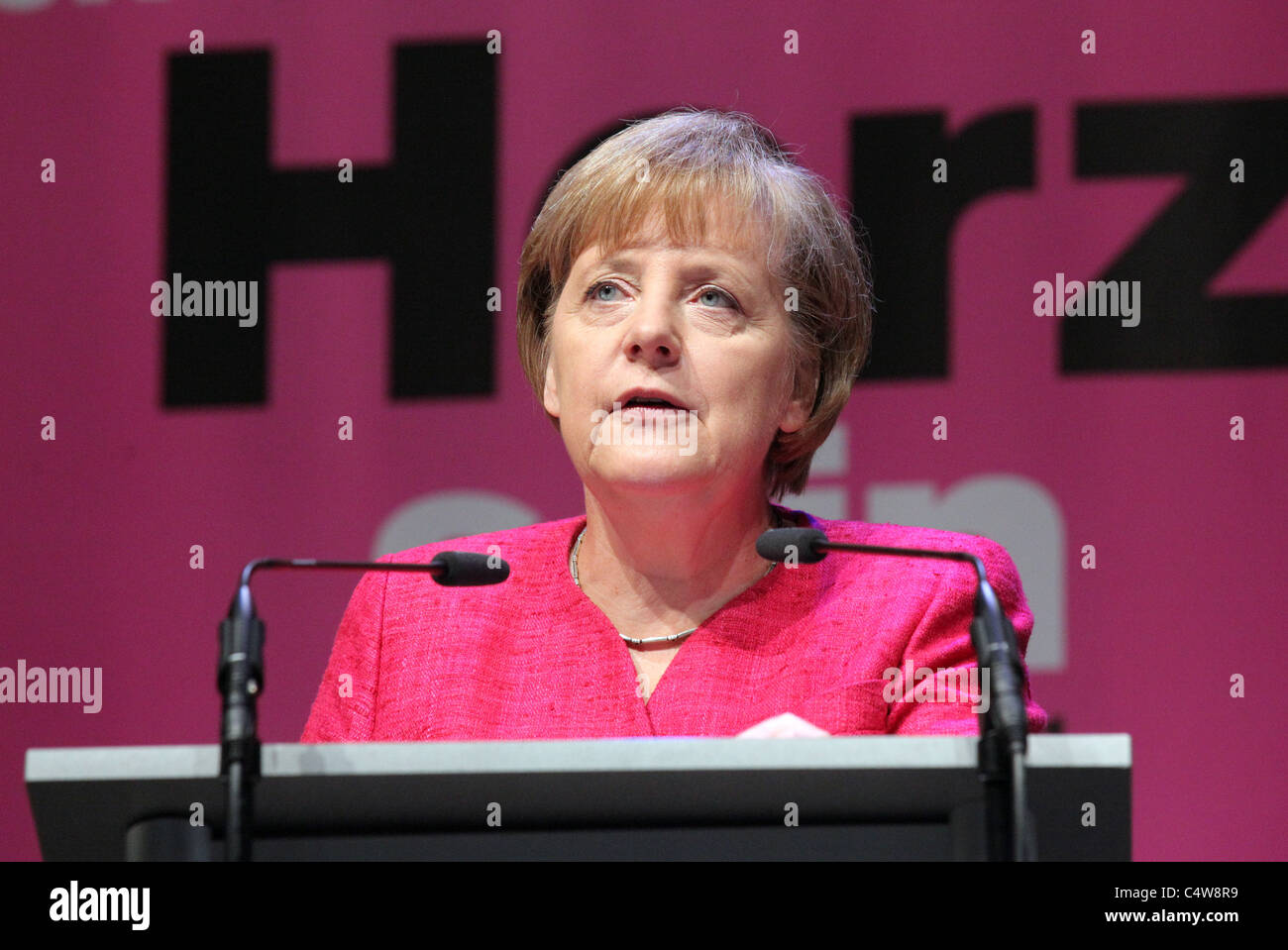 ANGELA MERKEL, Chancellor of Germany during a speech at the Evangelical Congress in Dresden, Germany 4.June 2011 - Stock Image