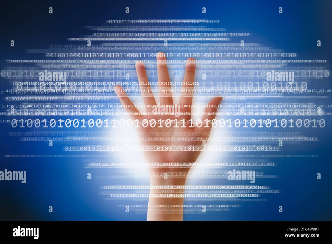 Digital image of hand and binary digits - Stock Image