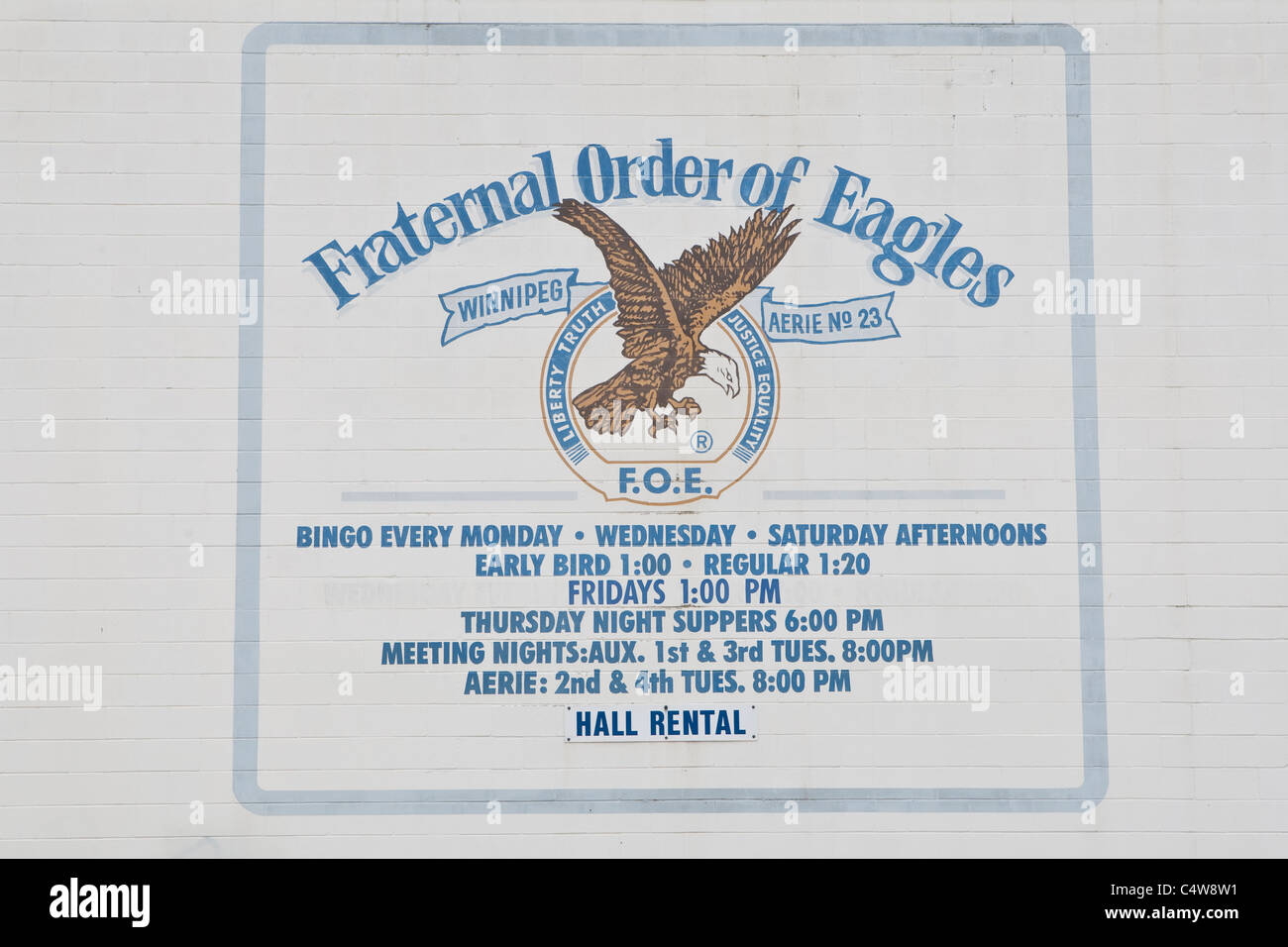 Fraternal Order of Eagle aeries 23 is pictured in Winnipeg - Stock Image
