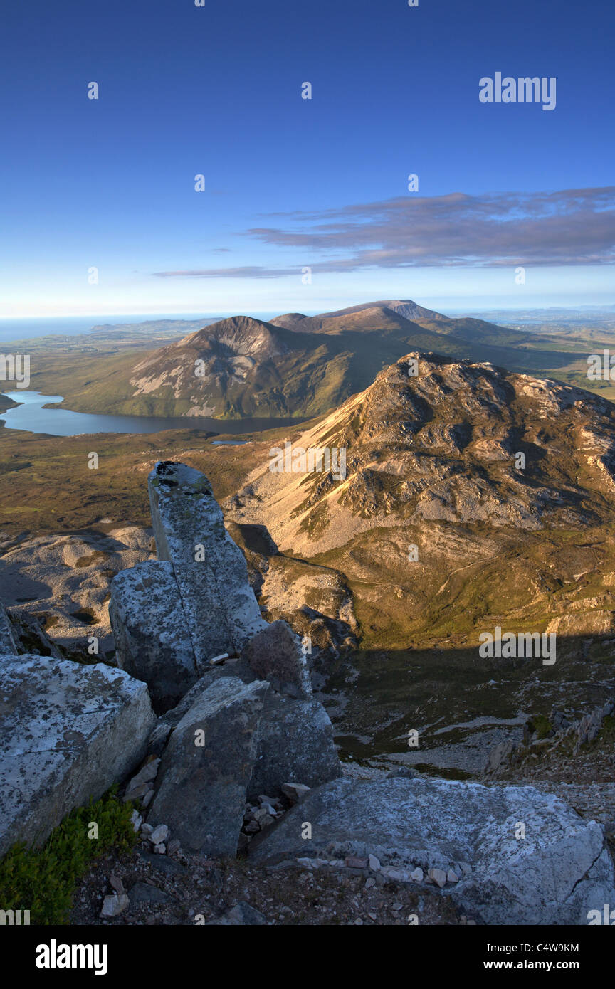 Climbing Mount Errigal, Gweedore, County Donegal, Derryveagh Mountains - Stock Image