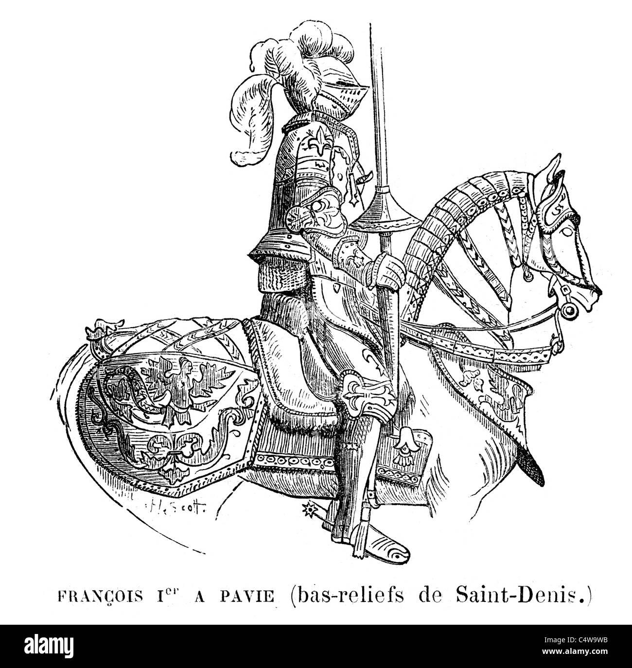 King Francois I of France in full plate armour on horseback - Stock Image