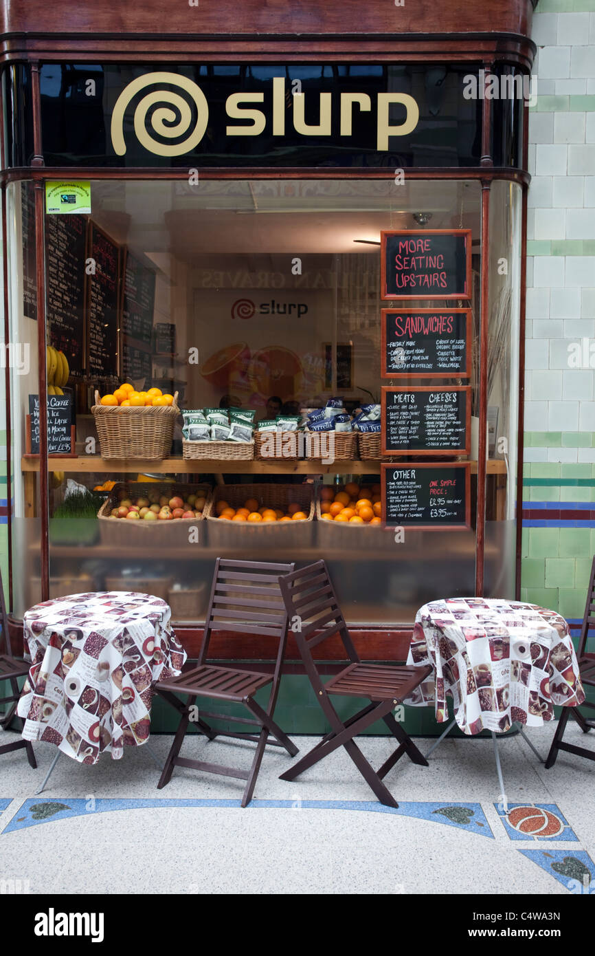 Shop window/front called Slurp selling fresh fruit in The Royal Arcade, Norwich, Norfolk, England, UK, United Kingdom - Stock Image