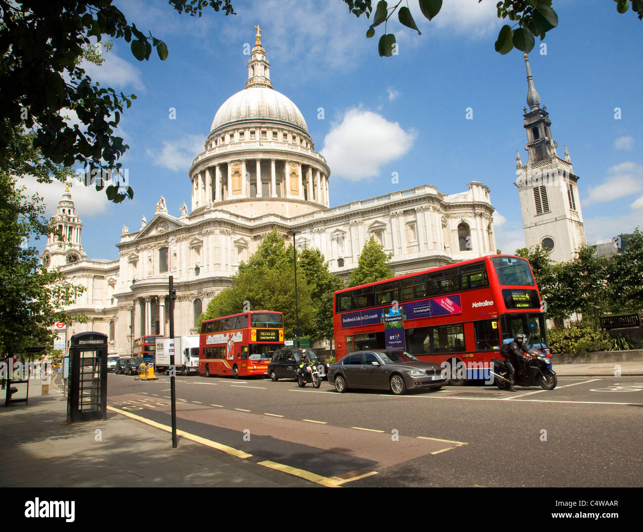 View of St Paul's cathedral Cannon Street, London - Stock Image