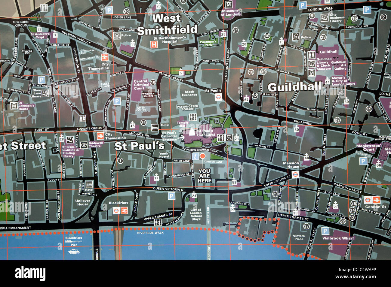 Central London Street Map.City Of London Tourist Street Map Central London Stock Photo