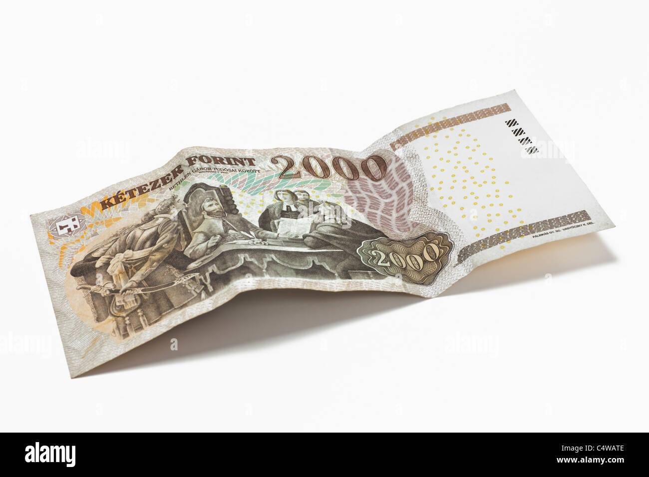 Detailansicht einer ungarischen 2000 Forint Banknote | Detail photo of a hungarian 2000 forint Banknote Stock Photo