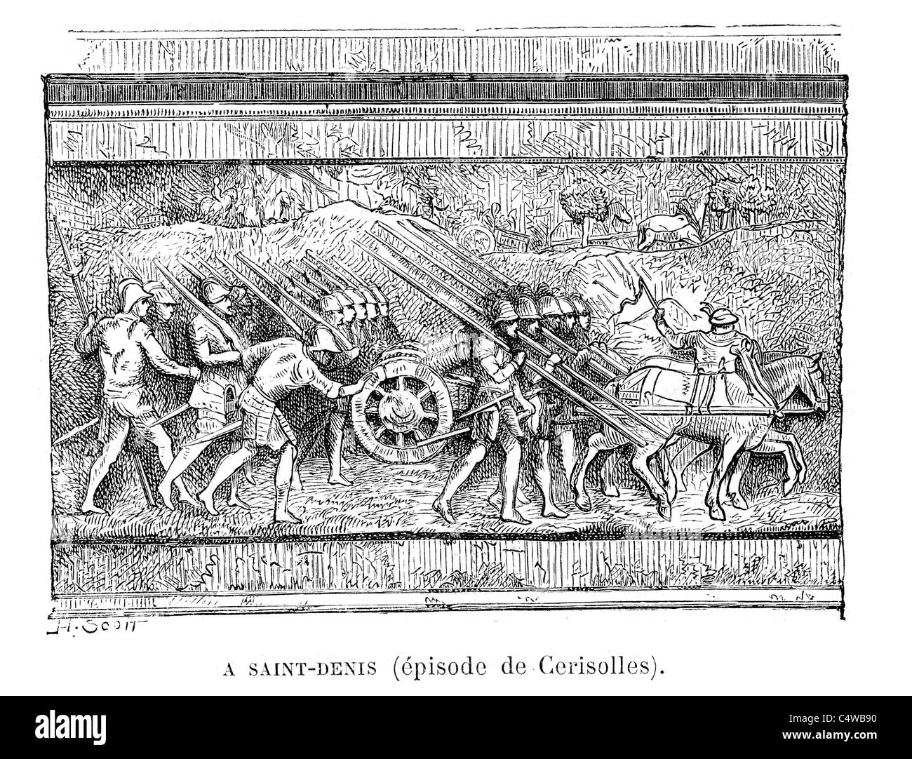 Bas Relief on the tomb of Francis I of France - Stock Image