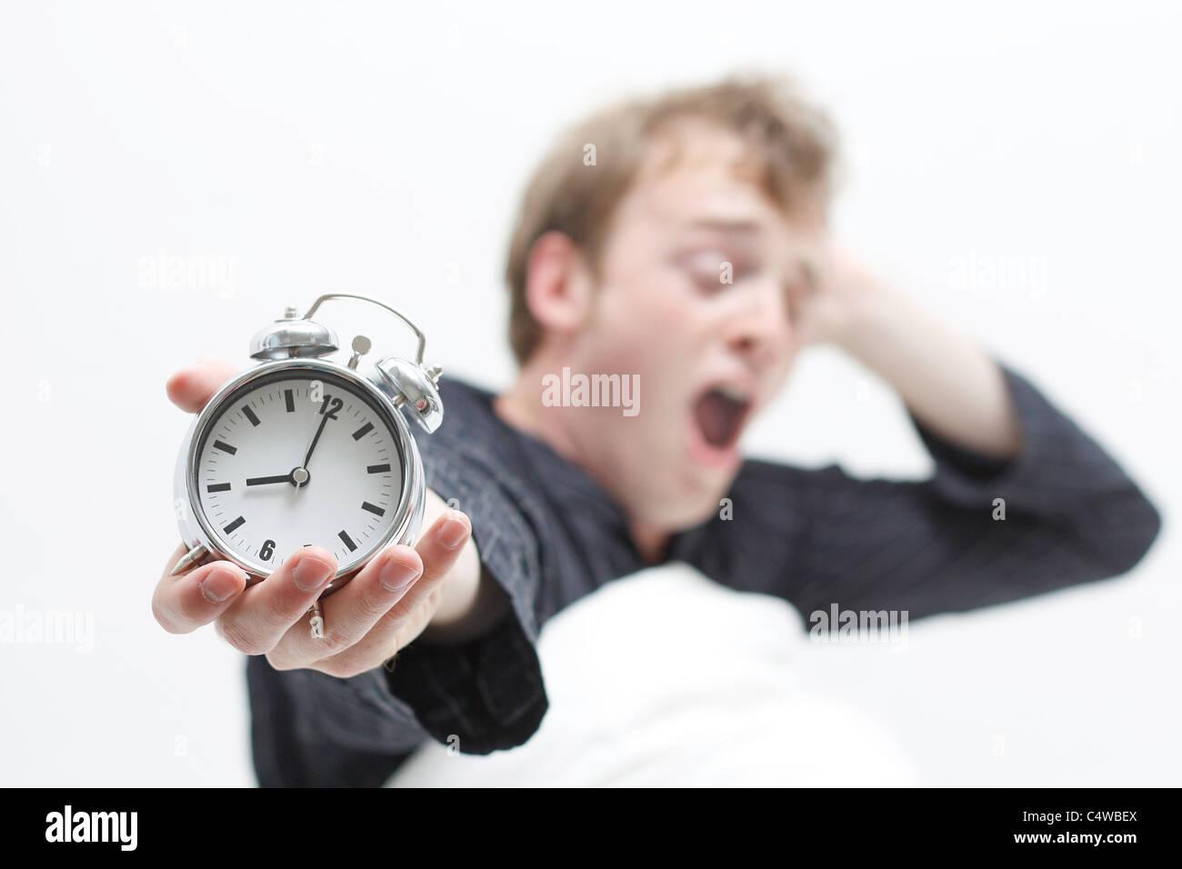 A man yawning - Stock Image