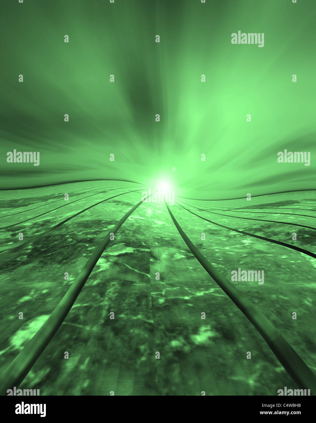 Curved grid upheaval distortion green issues - Stock Image
