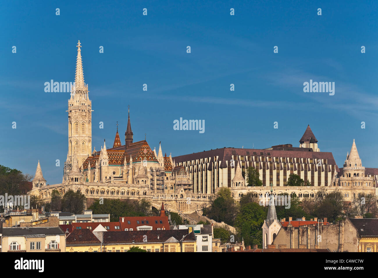 View to the Fishermen's Bastion. At the left side is the Matthias Church, Budapest, Hungary - Stock Image