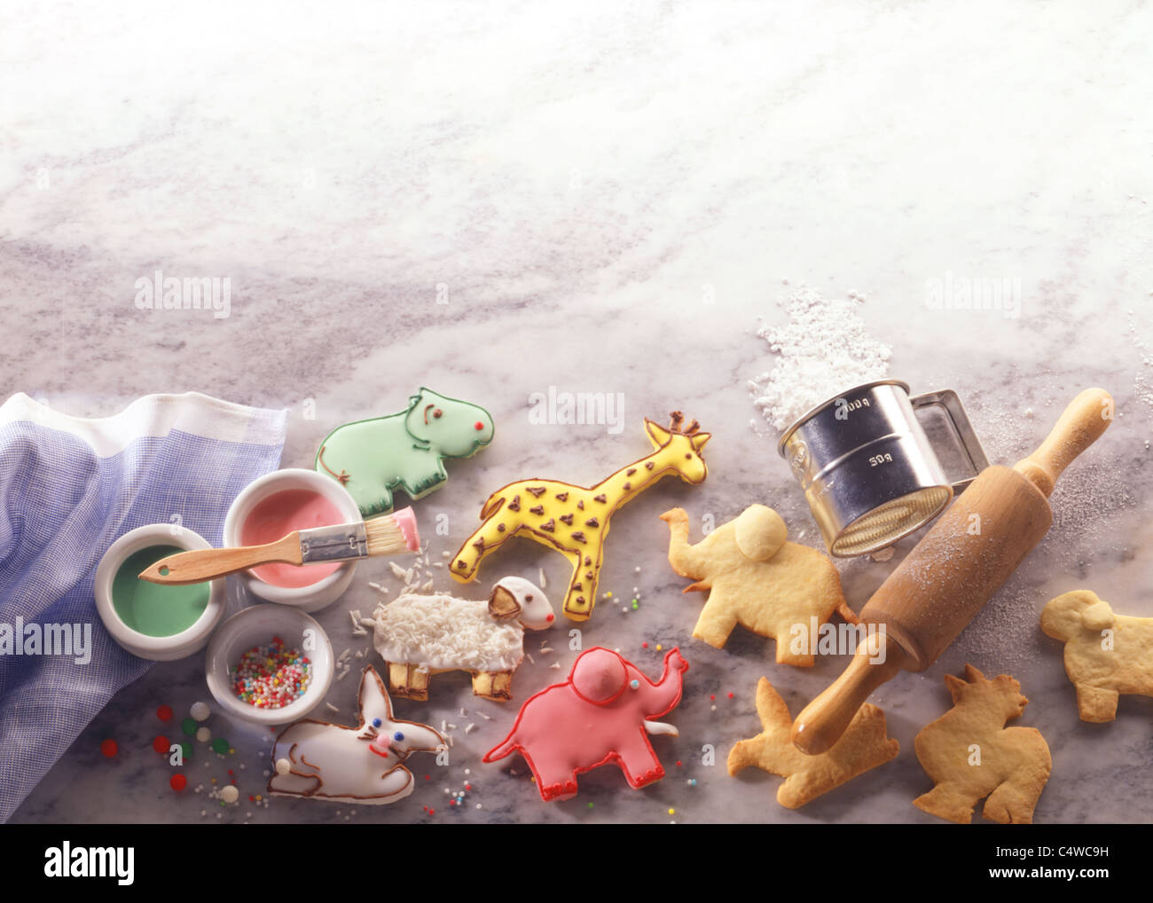Shortcrust cookies, different animals - Stock Image