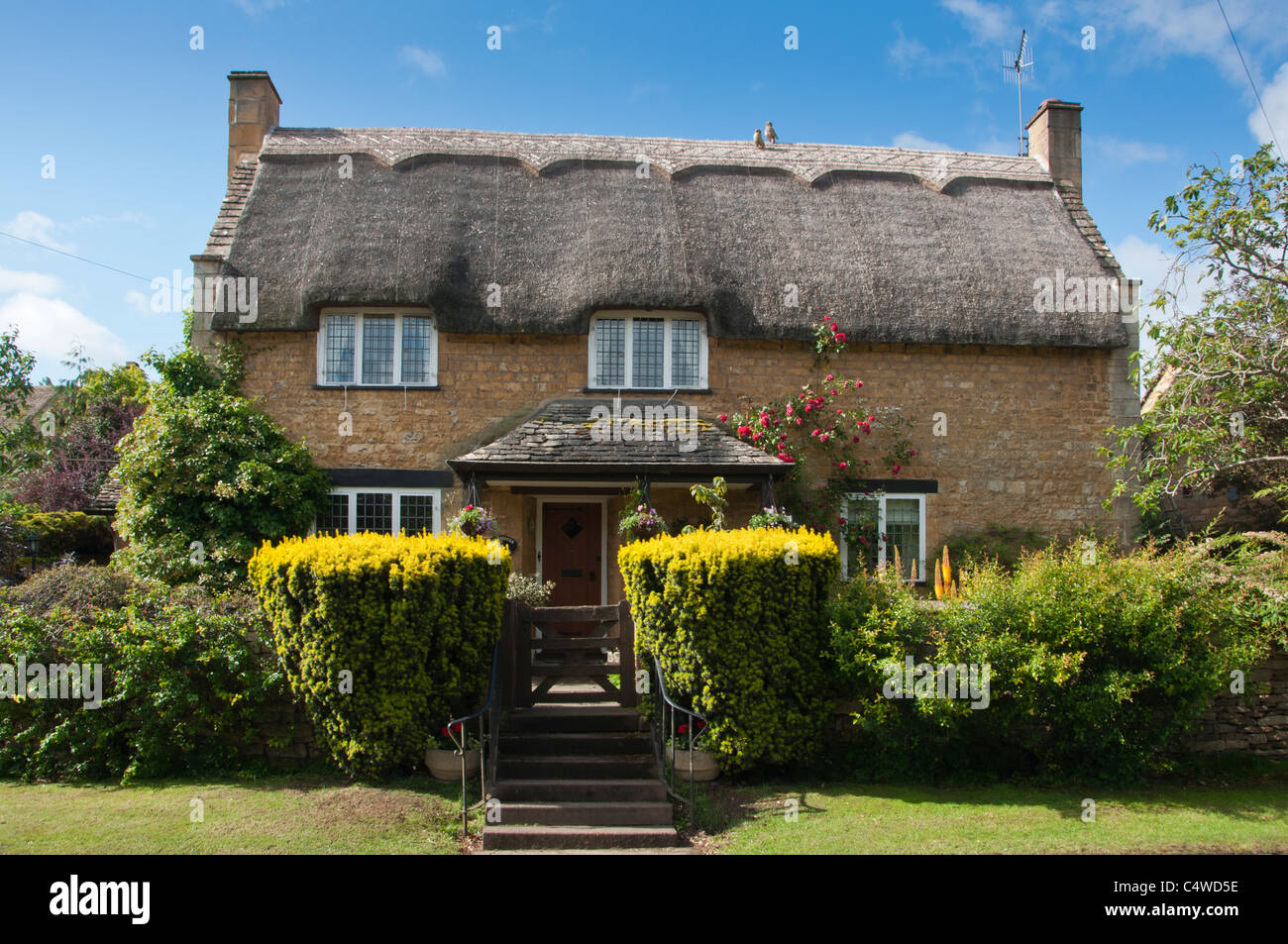 Cotswold thatched cottage in Chipping Campden, Gloucestershire, UK - Stock Image