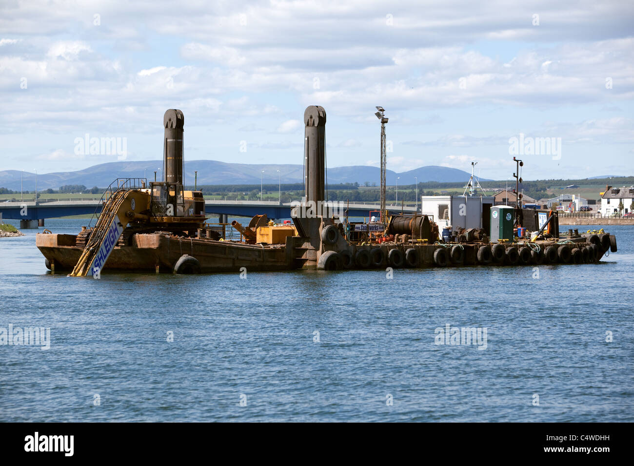 Dredging operations Montrose Harbour Scotland UK Stock Photo