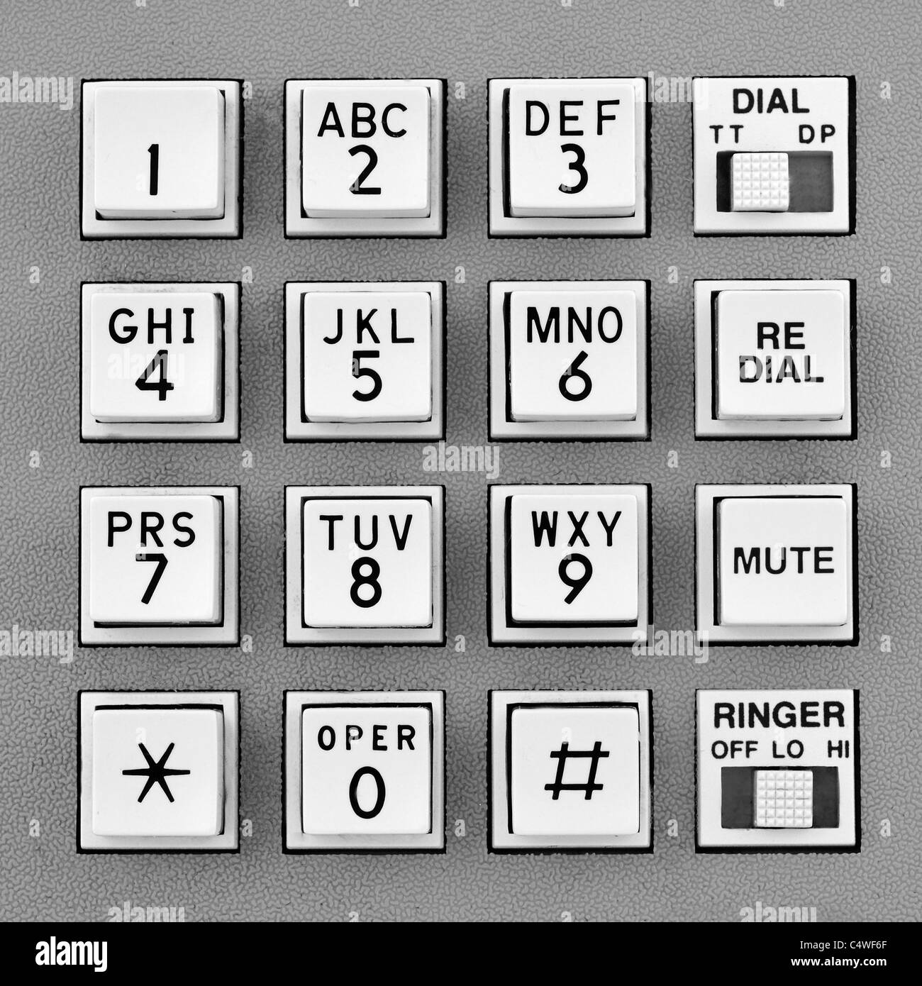 telephone push button pad for touch tone dialing Stock Photo