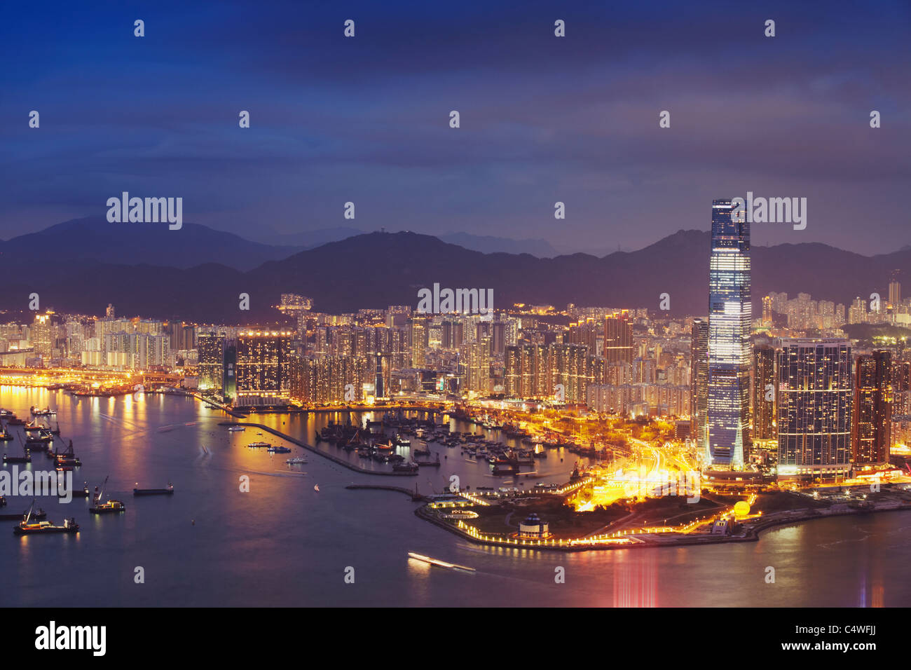 View of International Commerce Centre (ICC) and West Kowloon at dusk, Hong Kong, China - Stock Image
