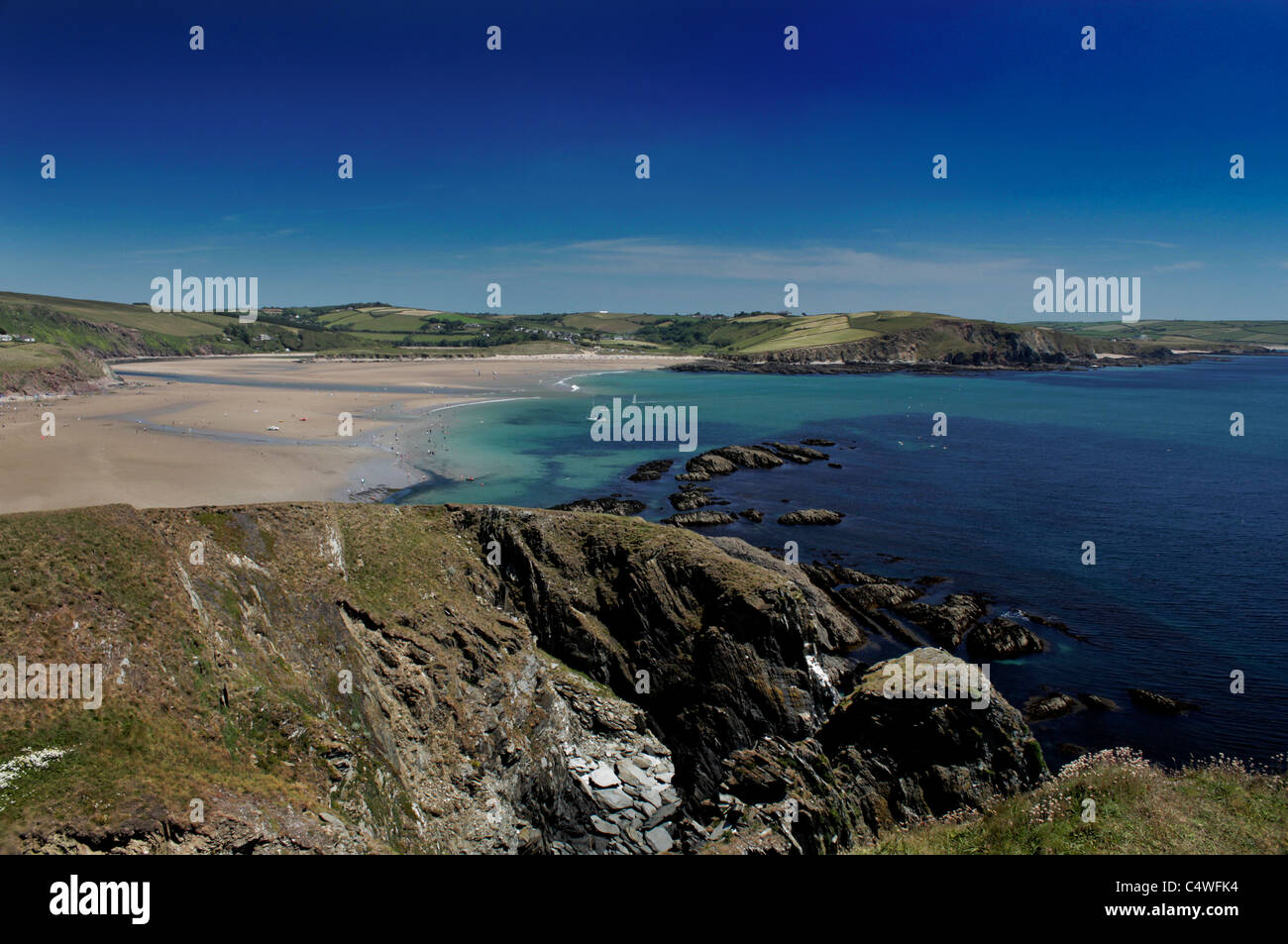 View over Bigbury and Bantham beaches, South Devon, UK, from Burgh Island - Stock Image