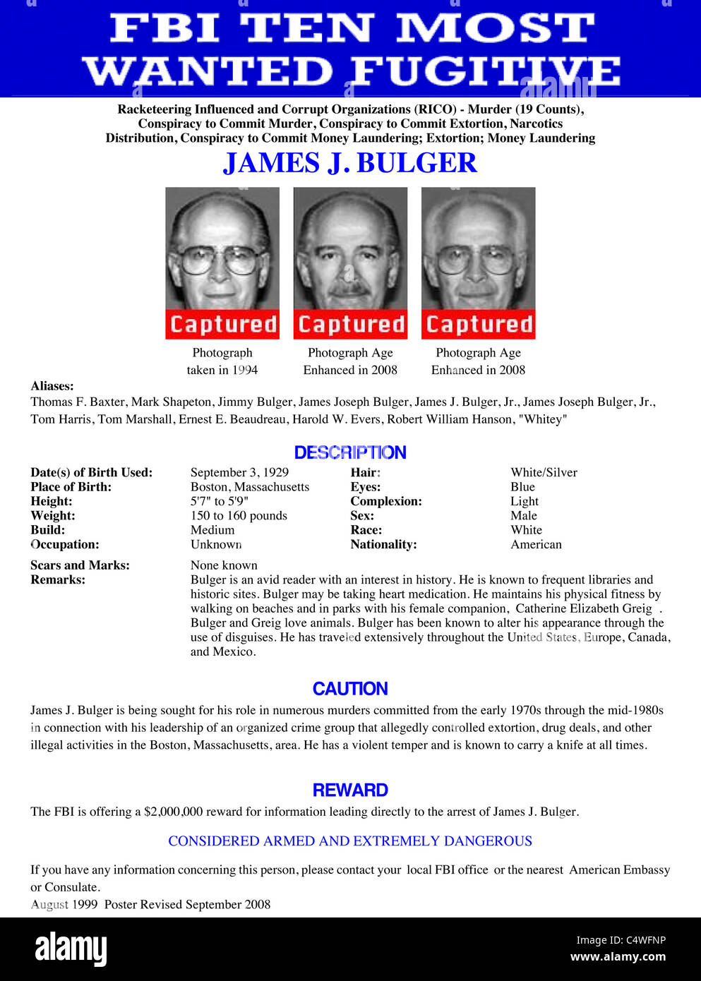 The FBI Ten Most Wanted poster for James (Whitey) Bulger marked 'captured' - Stock Image